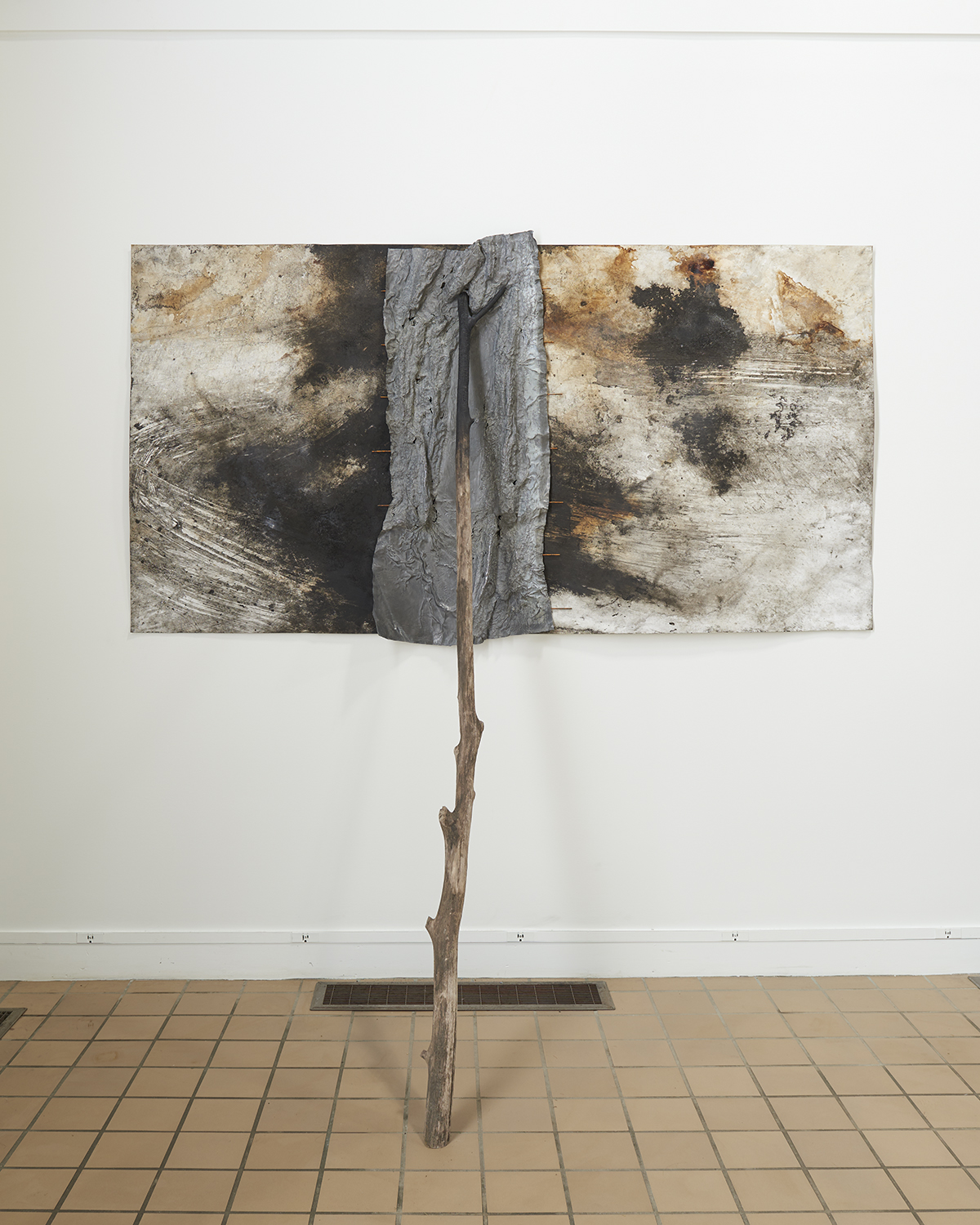 Athena LaTocha  Murderers Creek , 2018-2019 ink and earth on paper, lead, steel, wood 44 × 84 × 39 inches (111.76 × 213.36 × 99.06 cm)
