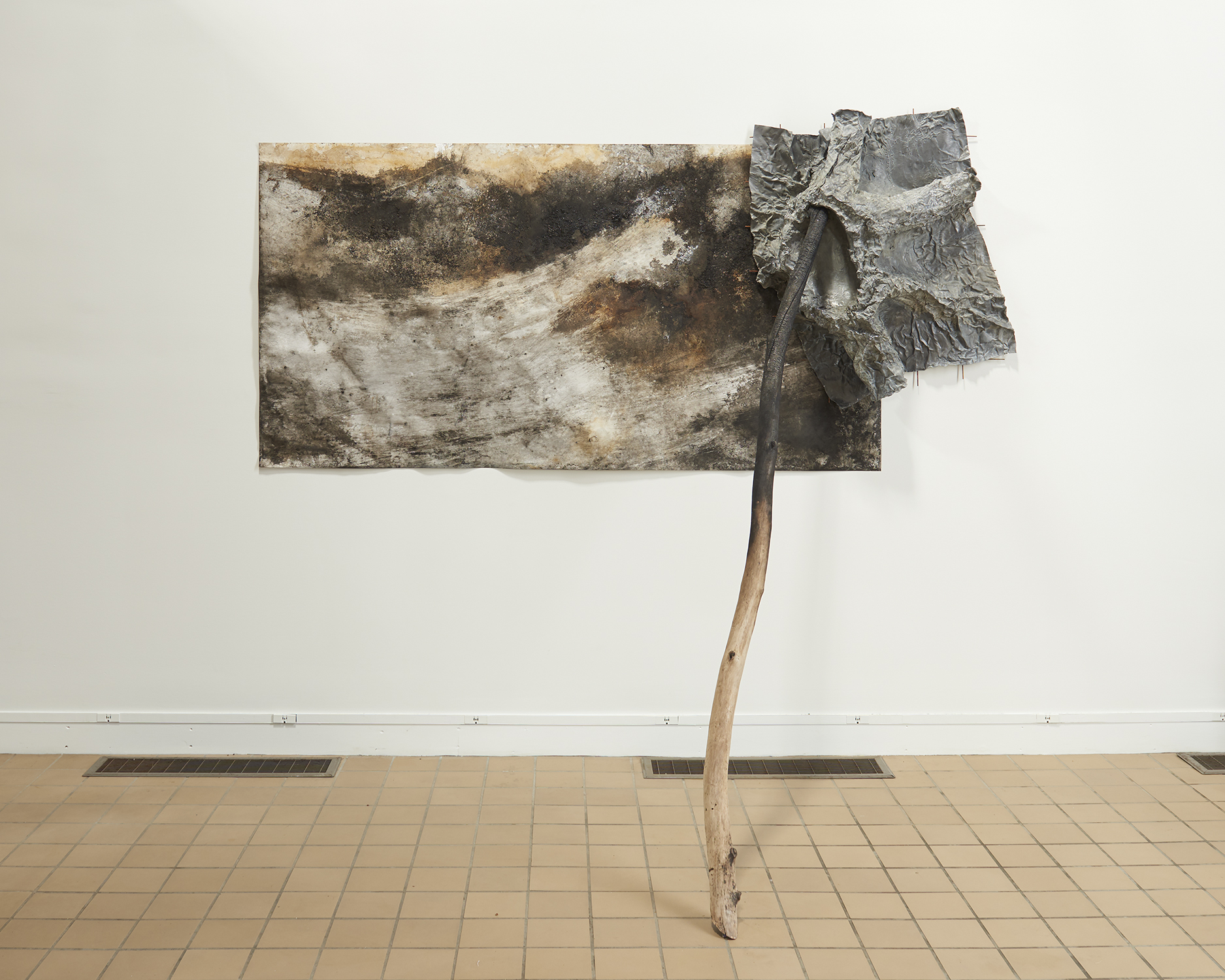 Athena LaTocha  Winterkill , 2018-2019 ink and earth on paper, lead, steel, wood 47 × 101 ½ × 58 inches (119.38 × 257.81 × 147.32 cm)