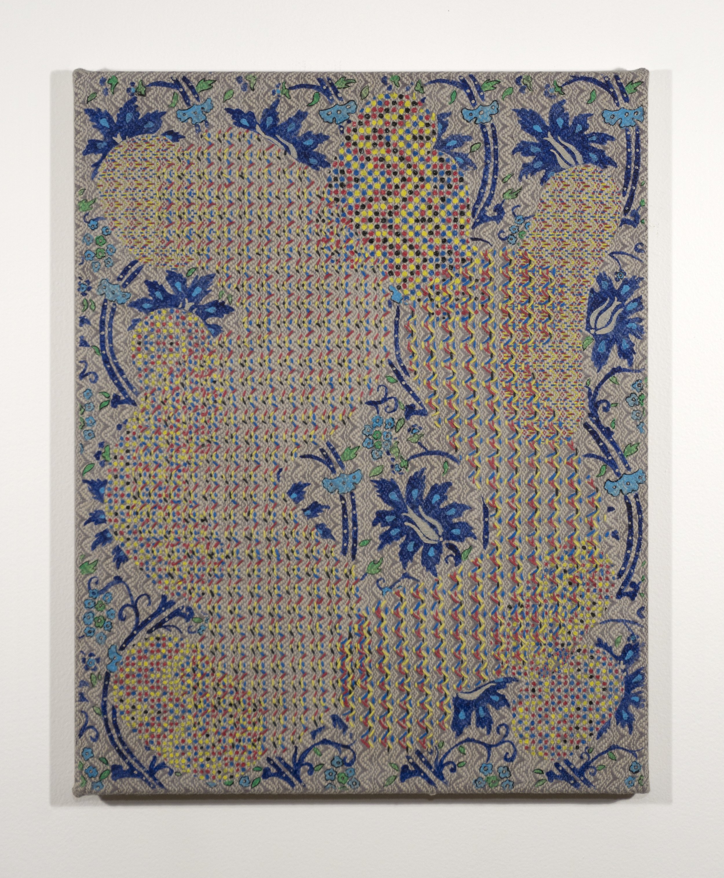 Mark Barrow & Sarah Parke  Origin , 2019 Embroidery and Acrylic on Hand-Loomed Linen 19 ⅝ × 15 ¾ inches (49.85 × 40.01 cm)