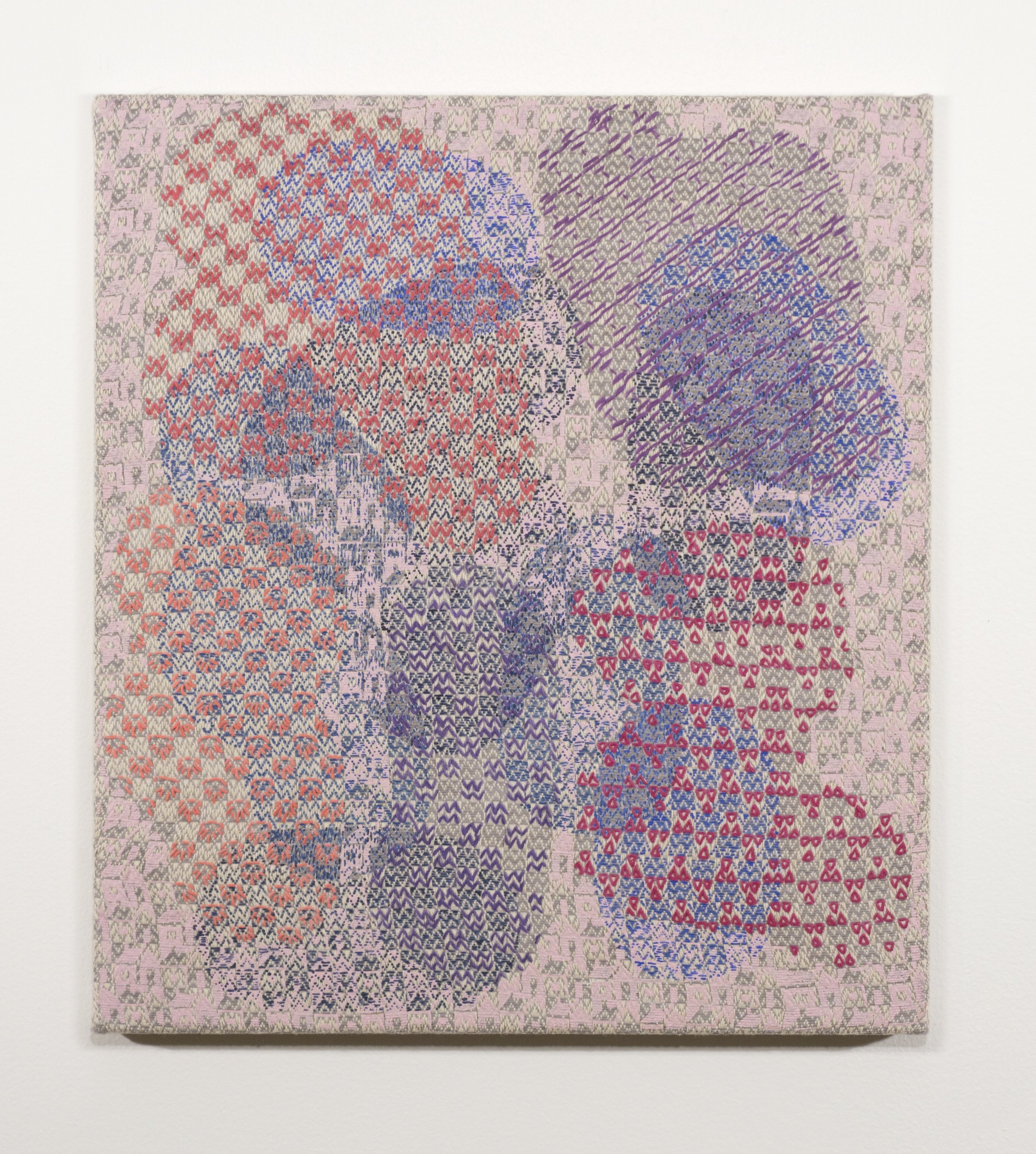 Mark Barrow & Sarah Parke  Future Homemakers of America , 2019 Acrylic and Embroidery on Hand-Loomed Linen 17 ¾ × 15 ¾ inches (45.09 × 40.01 cm)