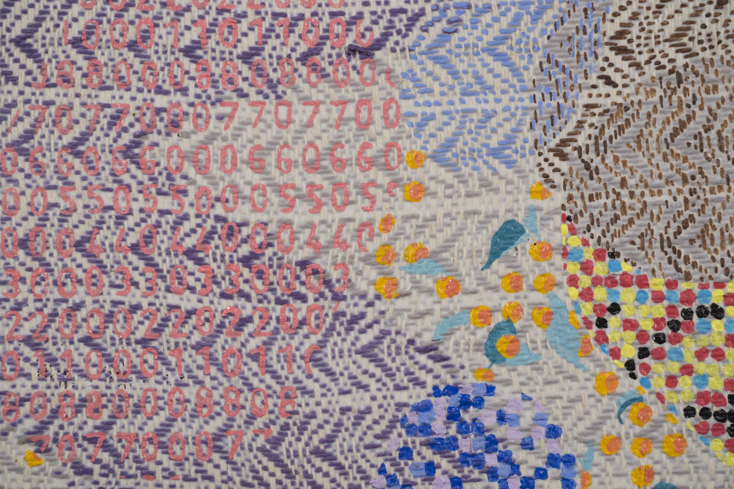 Mark Barrow & Sarah Parke  Eden , 2018 (detail) Acrylic on Hand-Loomed Linen 19 ¼ × 15 inches (48.90 × 38.10 cm)
