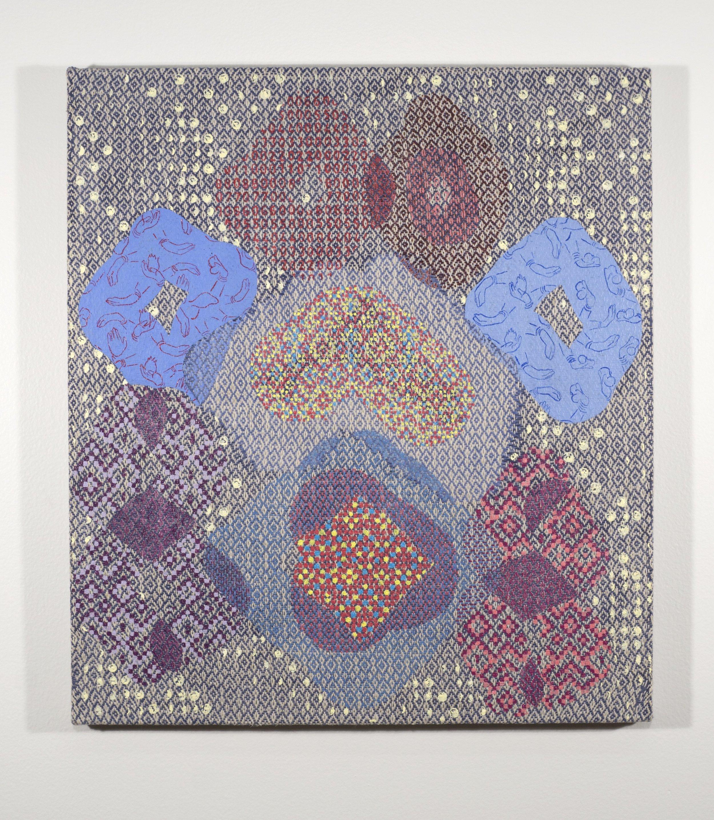 Mark Barrow & Sarah Parke  Ouroboros , 2018 Acrylic on Hand-Loomed linen 18 × 16 inches (45.72 × 40.64 cm)