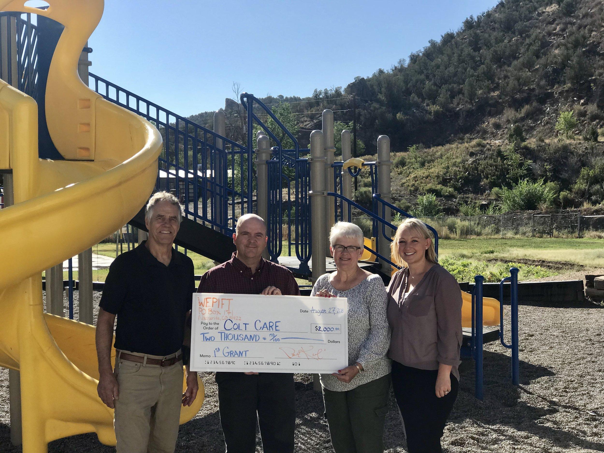 2018 grant award to Colt Care daycare center in Naturita.