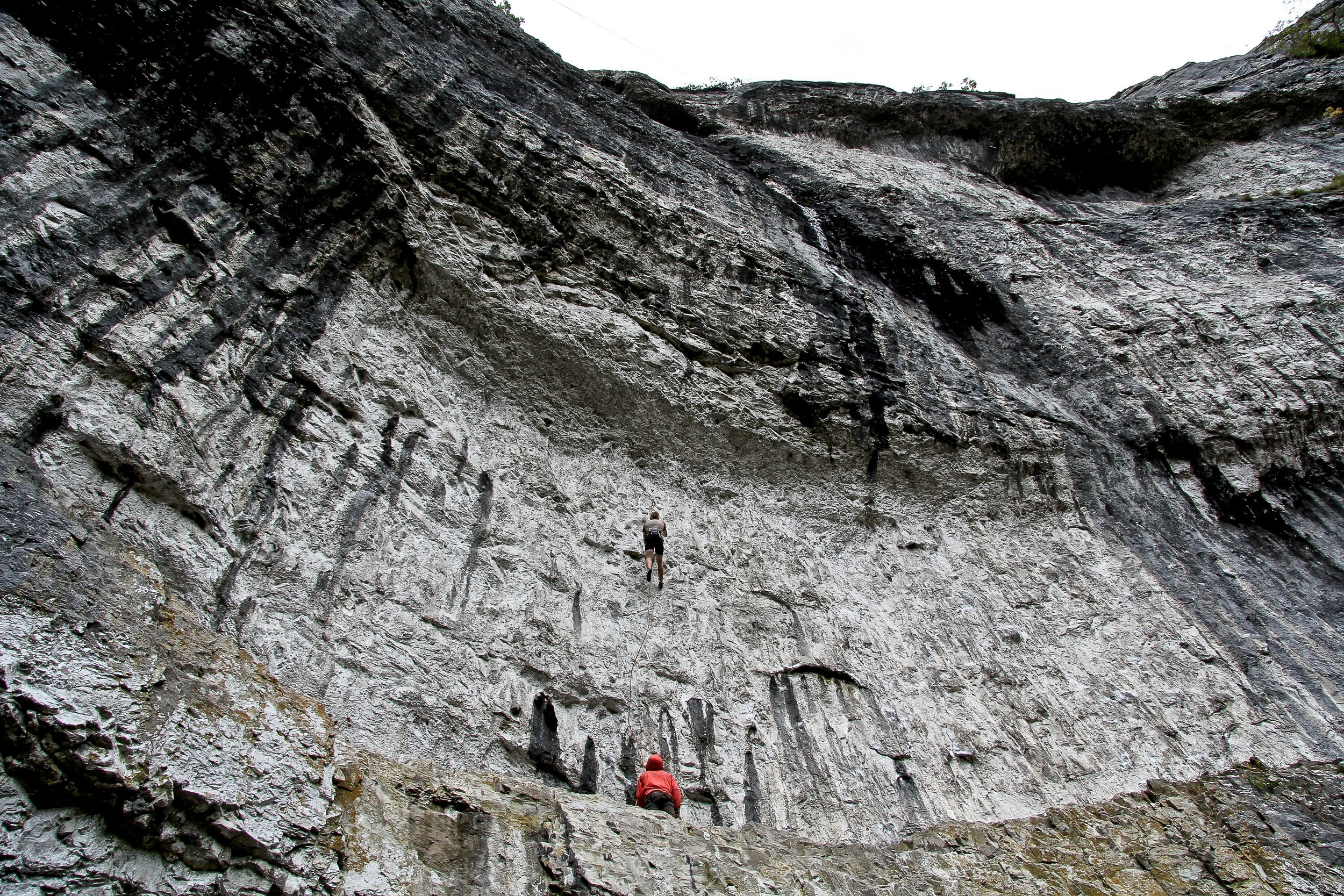 Climber up Malham Cove