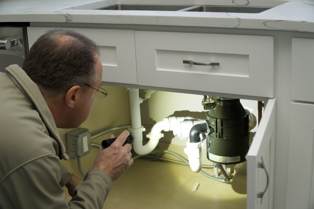 I do a visual inspection of viewable plumbing, checking for leaks past or present.