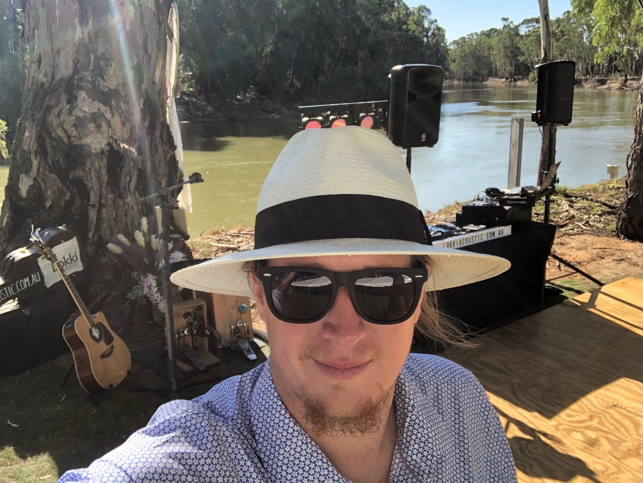 River side wedding musician and DJ set up in Barham