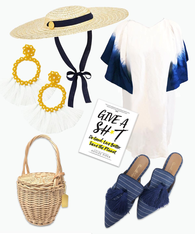 Hat ,  Earrings ,  Shoes,   Dress ,  Book