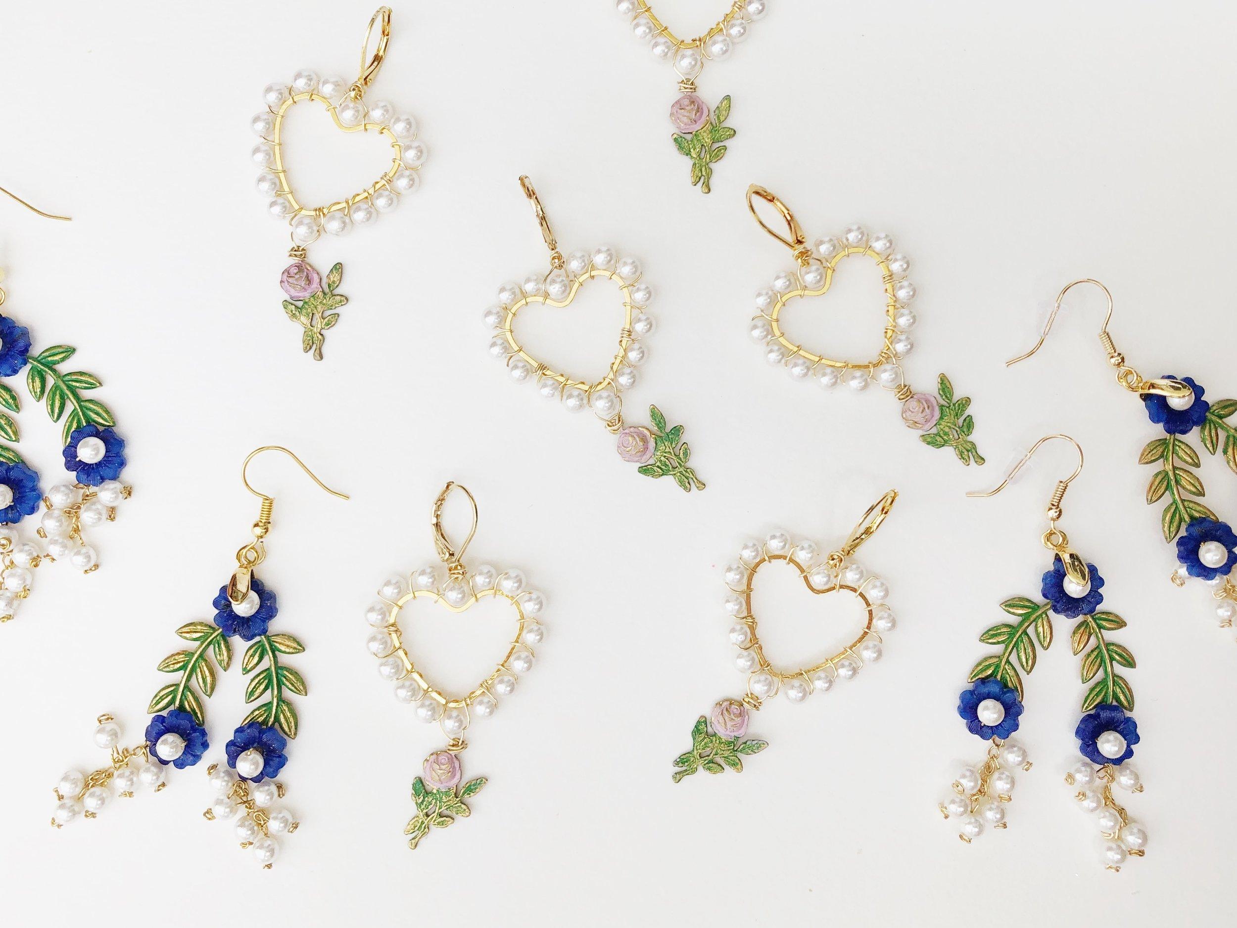 Recycled brass roses earrings inspired by Marie Antoinette.JPG