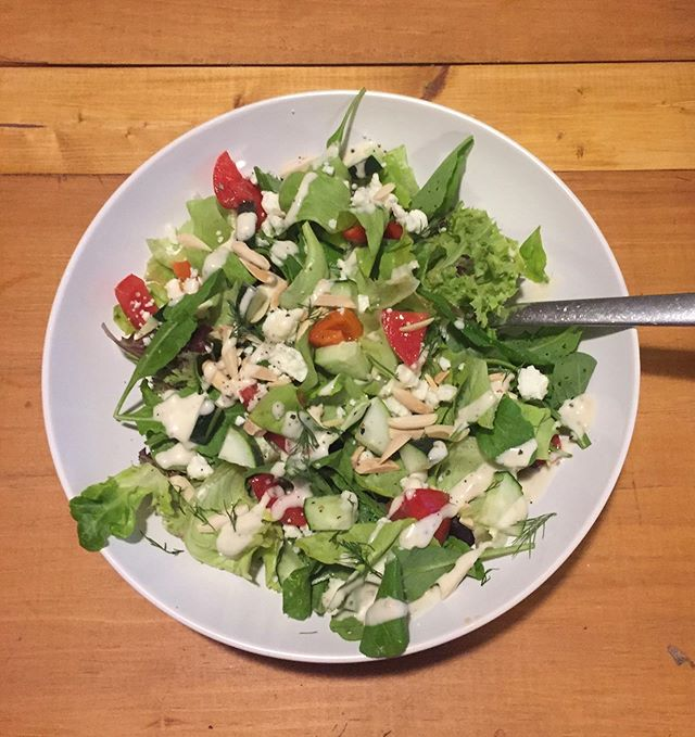 A recent dinner salad with lettuce, tomatoes, cucumbers, and dill from the farm. Wanna make your own? Come by @fearringtonfarmersmarket or @chfarmersmarket this week! 🥗