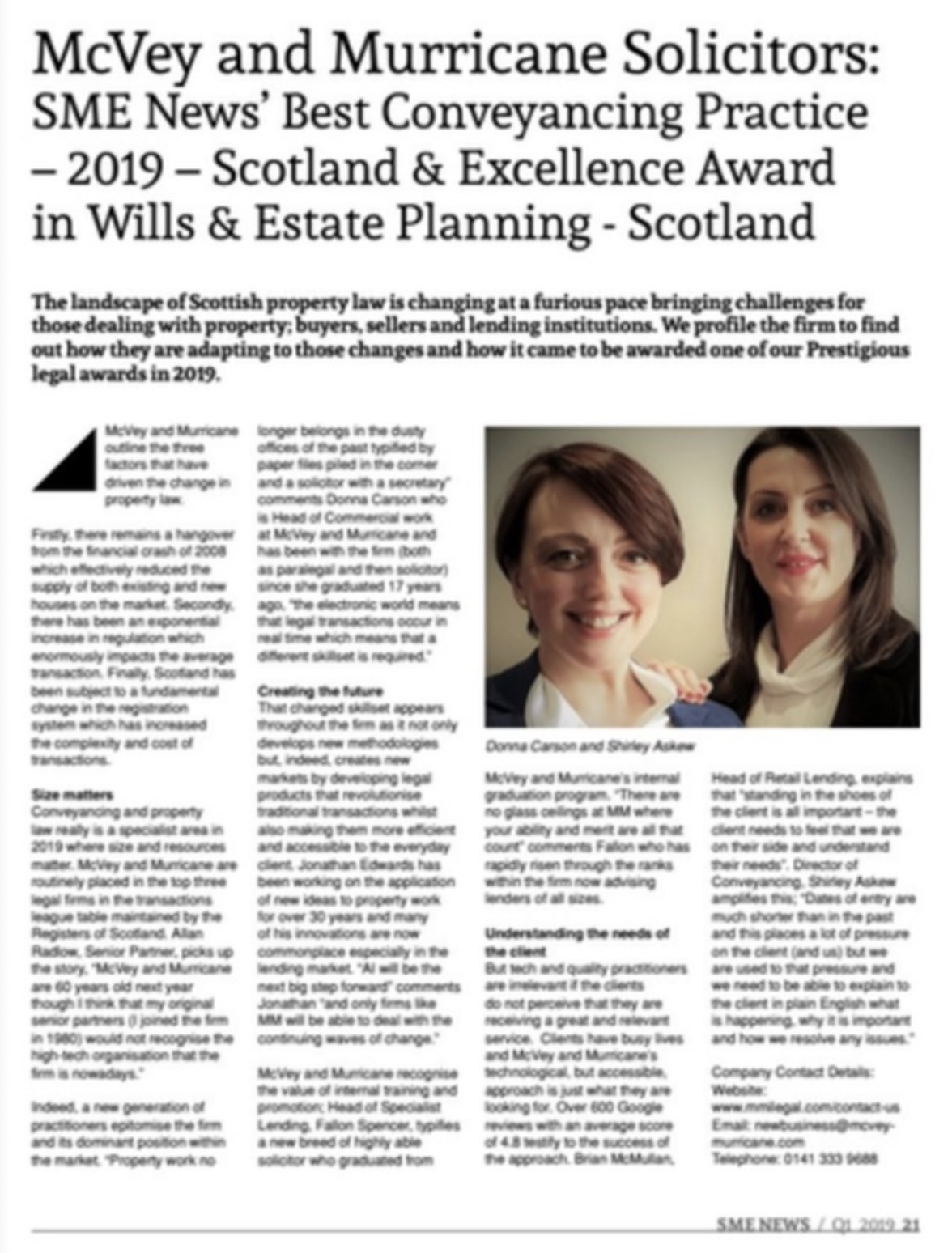 McVey and Murricane SME News' Best Conveyancing Practice
