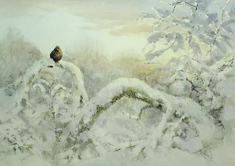 27. Winter Light Blackbird  Charcoal and Watercolour  30 x 42 inches  ££3500.jpg