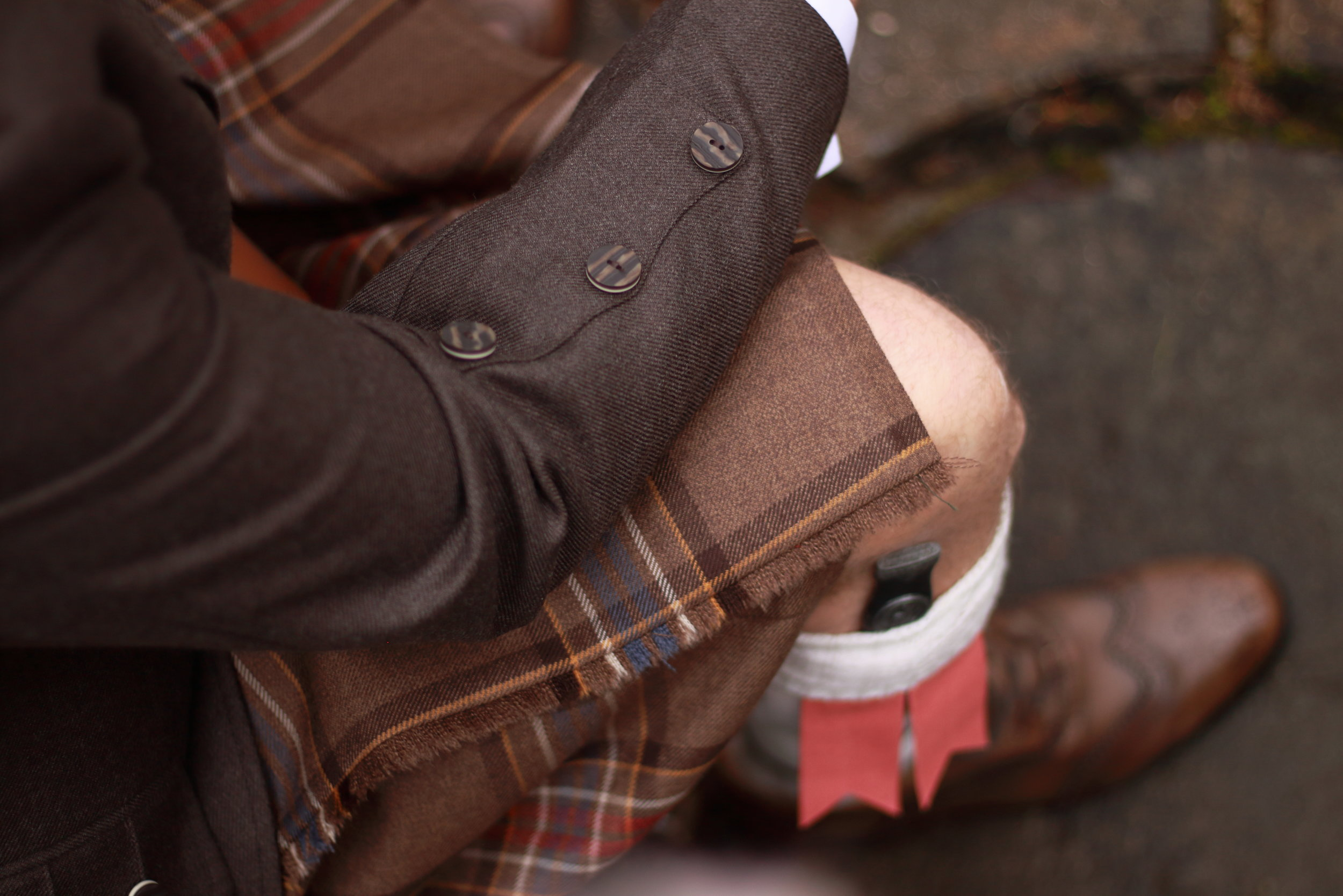 This tartan is Bonnie Banks and is a perfect match with our Peat jackets and brown brogues,
