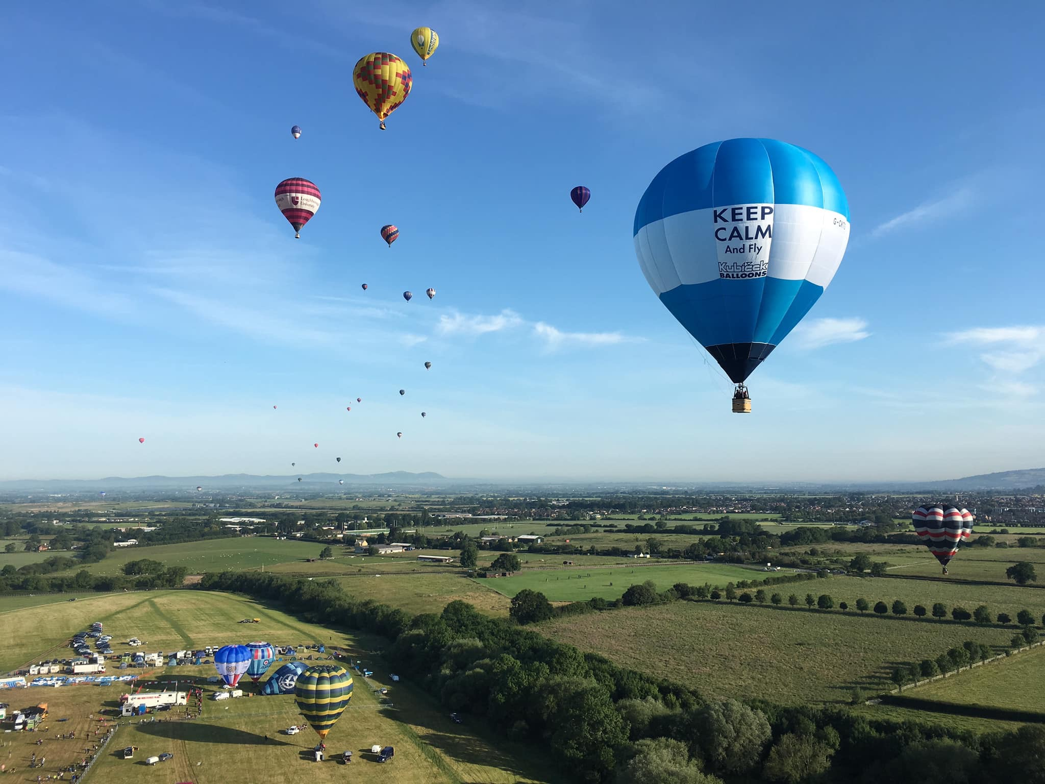 Kubicek Balloons BB26E flying at Cheltenham Racecourse