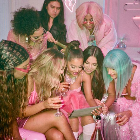 Behind the scenes photo of the 7 Rings video shoot - Ariana Grande's Instagram account