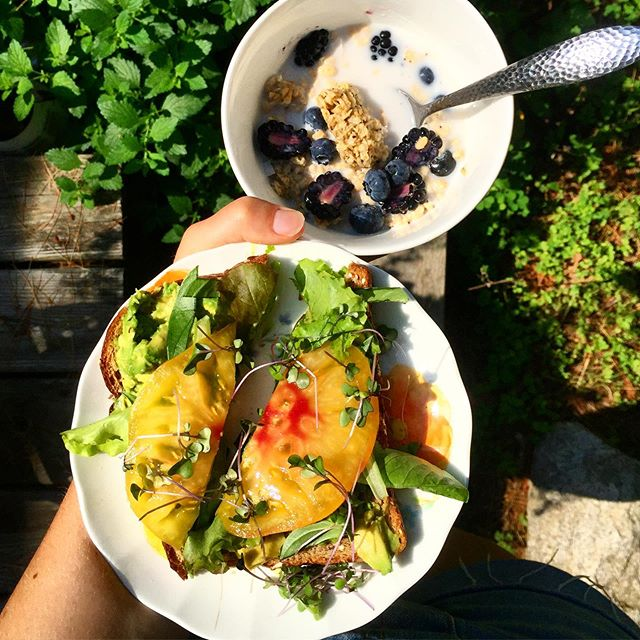 Never deciding between sweet & savory. [[ peep those serving skills coming to a peak ]] 👀 .⁣ .⁣ .⁣ .⁣ .⁣ .⁣ .⁣ .⁣ #breakfast #brunch #recipe #tasty #vegan #summer #summertime #dairyfree #veganrecipe #foodshare #veganfoodshare #foodphotography #plantbased #wholefoods #feedfeed #igfood #rd2be #nomnomnom #whatveganseat #eeeeeats #farmersmarket #avocadotoast #avocado #granola