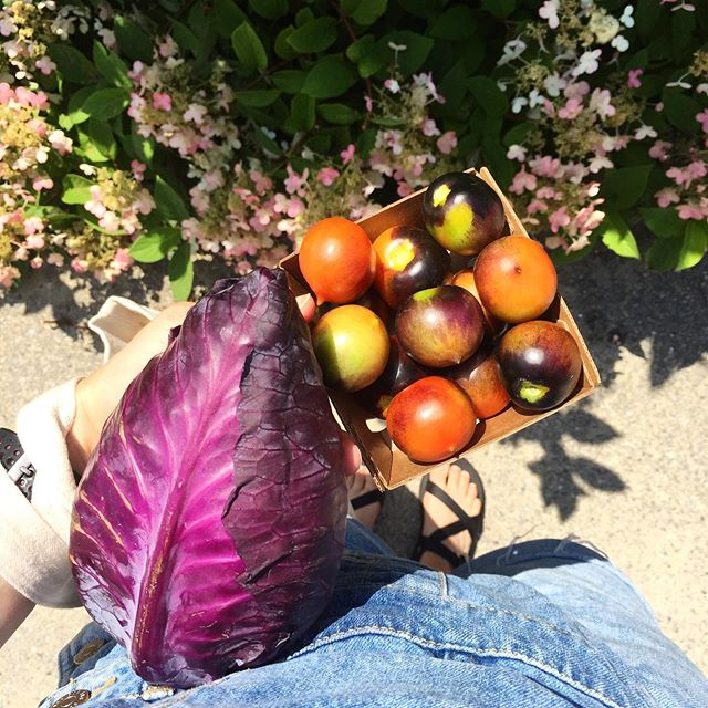 Monday morning snacks. Not in hand: fuzzy white peaches, bunches of purple kale, the reddest onions. I love summer. 🦑 #supportlocal #summertimehappiness
