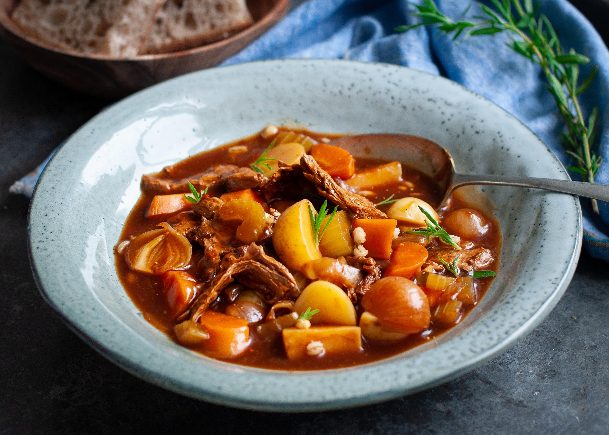 """hearty vegan """"beef"""" stew"""