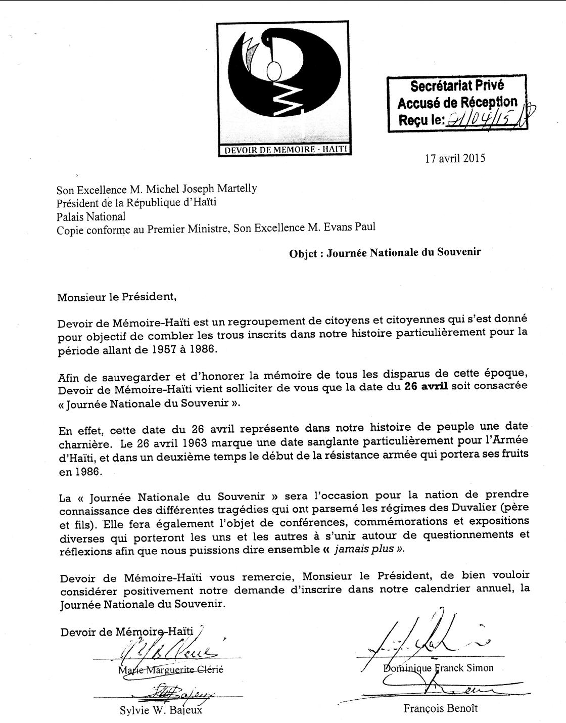 La lettre actuelle envoyé le 17 avril par DDM et reçu le 21 avril par le secrétariat du Palais National.