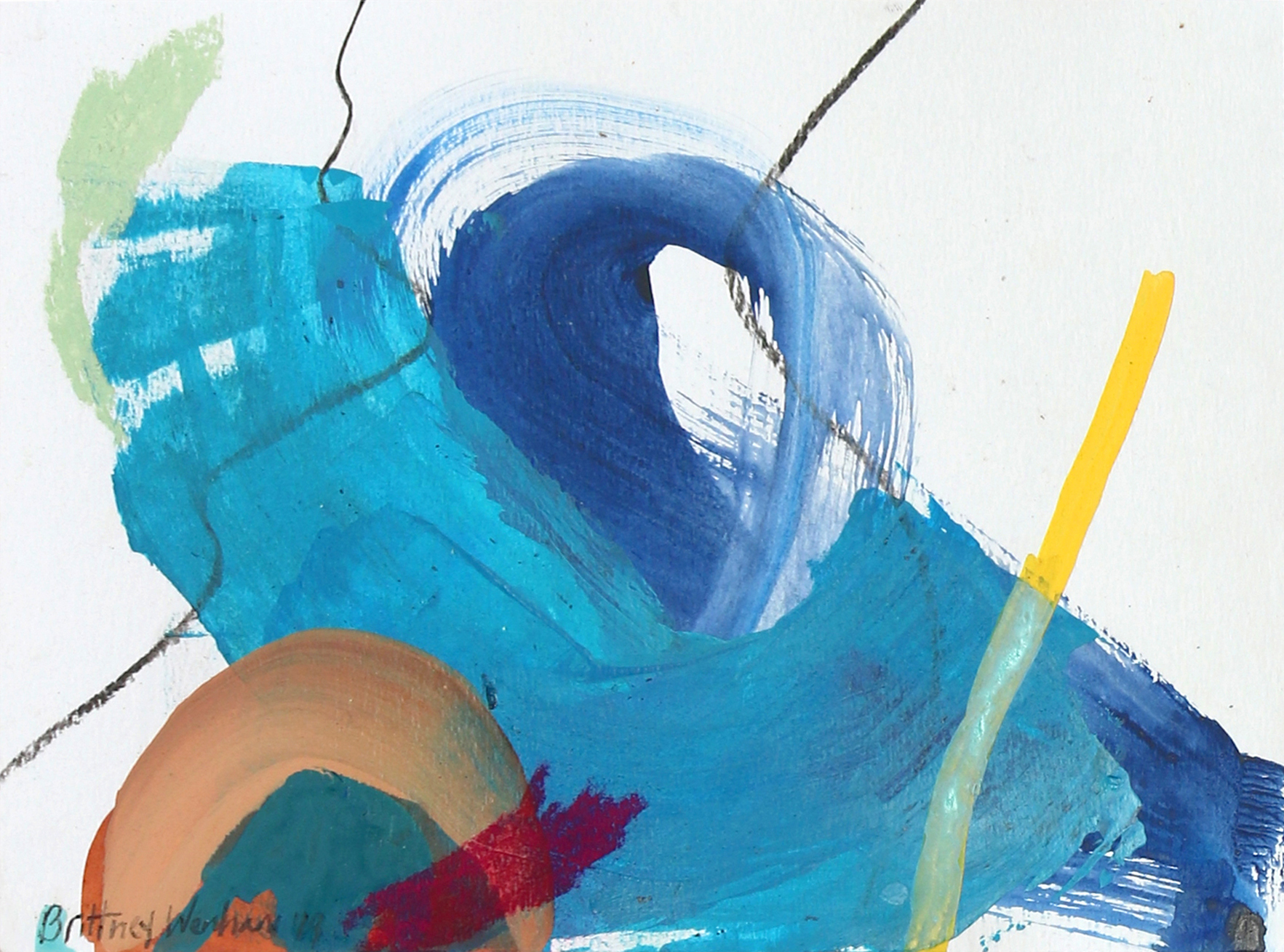 "AS NEGATIVE IONS GO #6  8.3"" x 11.7"", Acrylic, soft pastel and charcoal on paper, 2019"