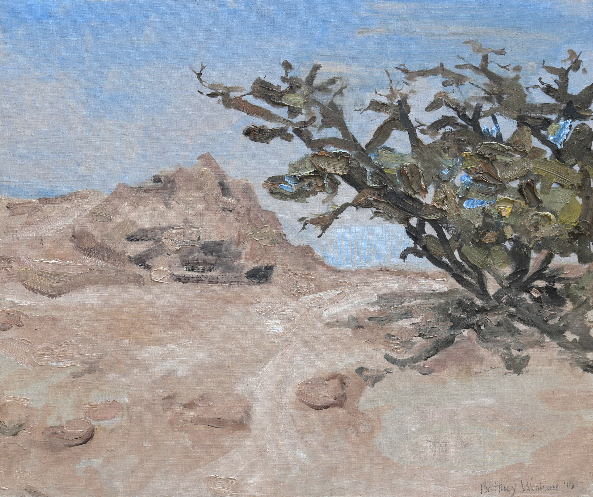 """DEAD SEA EARLY MORNING #1    20"""" x 24"""", Oil on linen stretched over panel, 2016"""