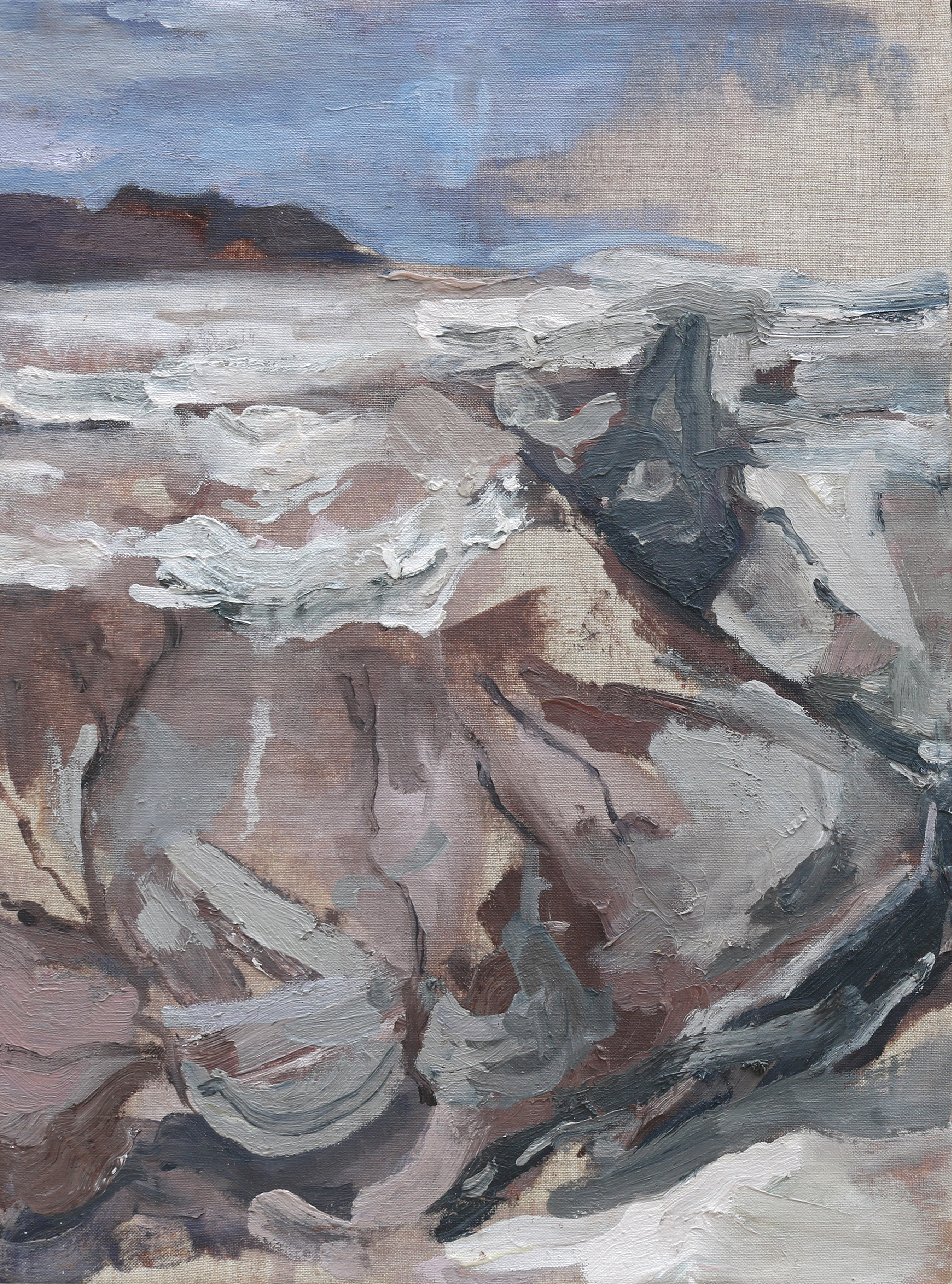 """DEAD SEA EARLY MORNING #3 Diptych    24"""" x 16"""", Oil on linen stretched over two panels, 2016"""