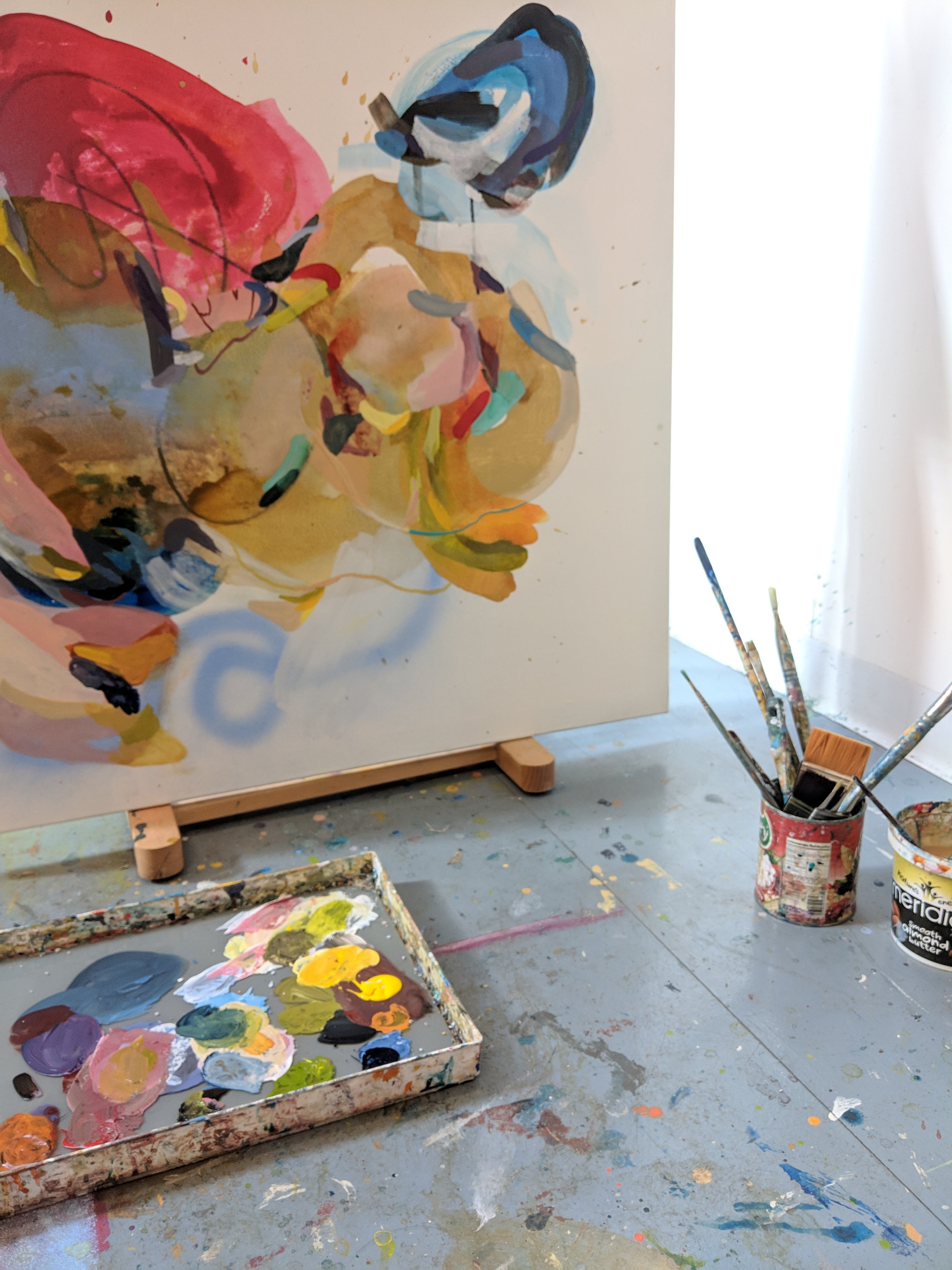 Process shot of   What Have You Got to Lose?  , an effort to balance internal and external stressors by way of color.