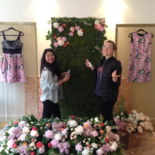 Kristen and Hope prepping the flower wall