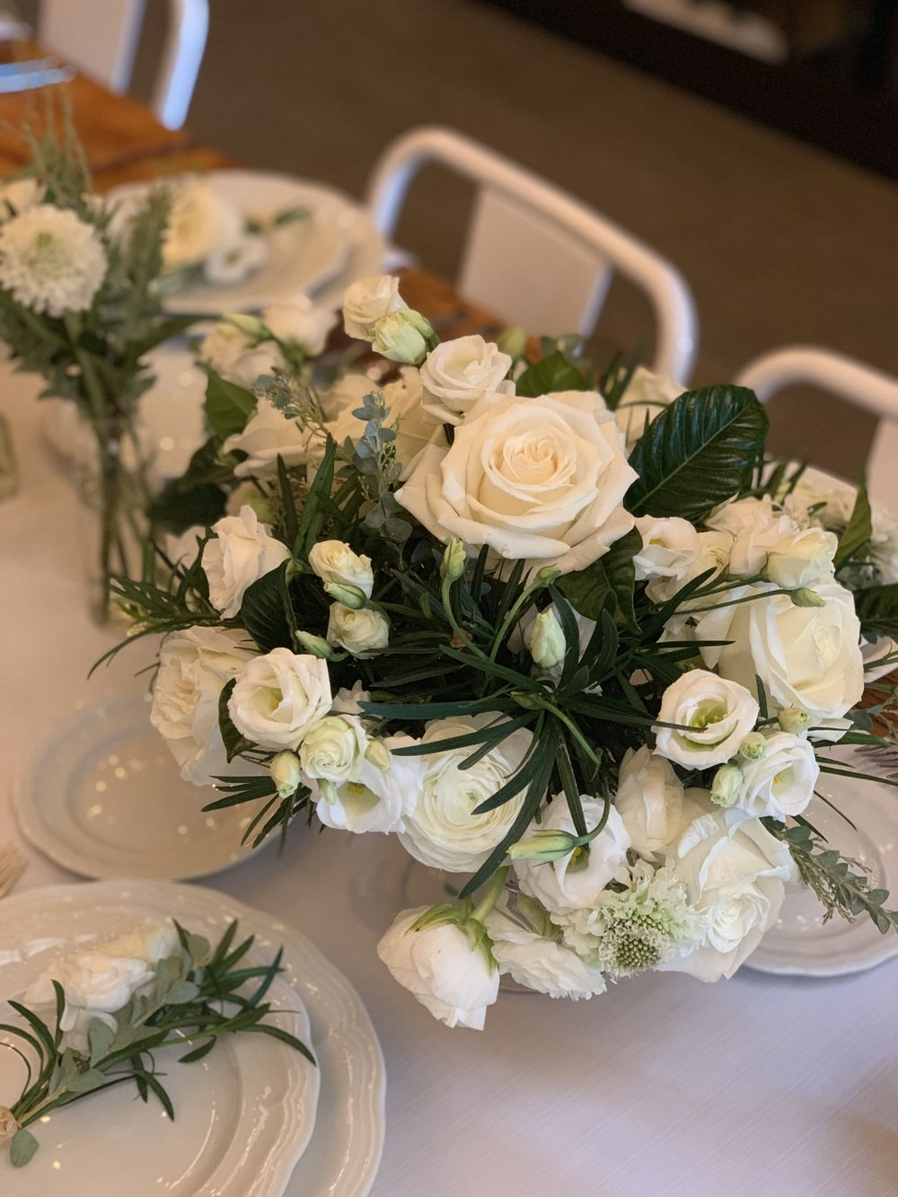White And Greenery Arrangements- B Floral