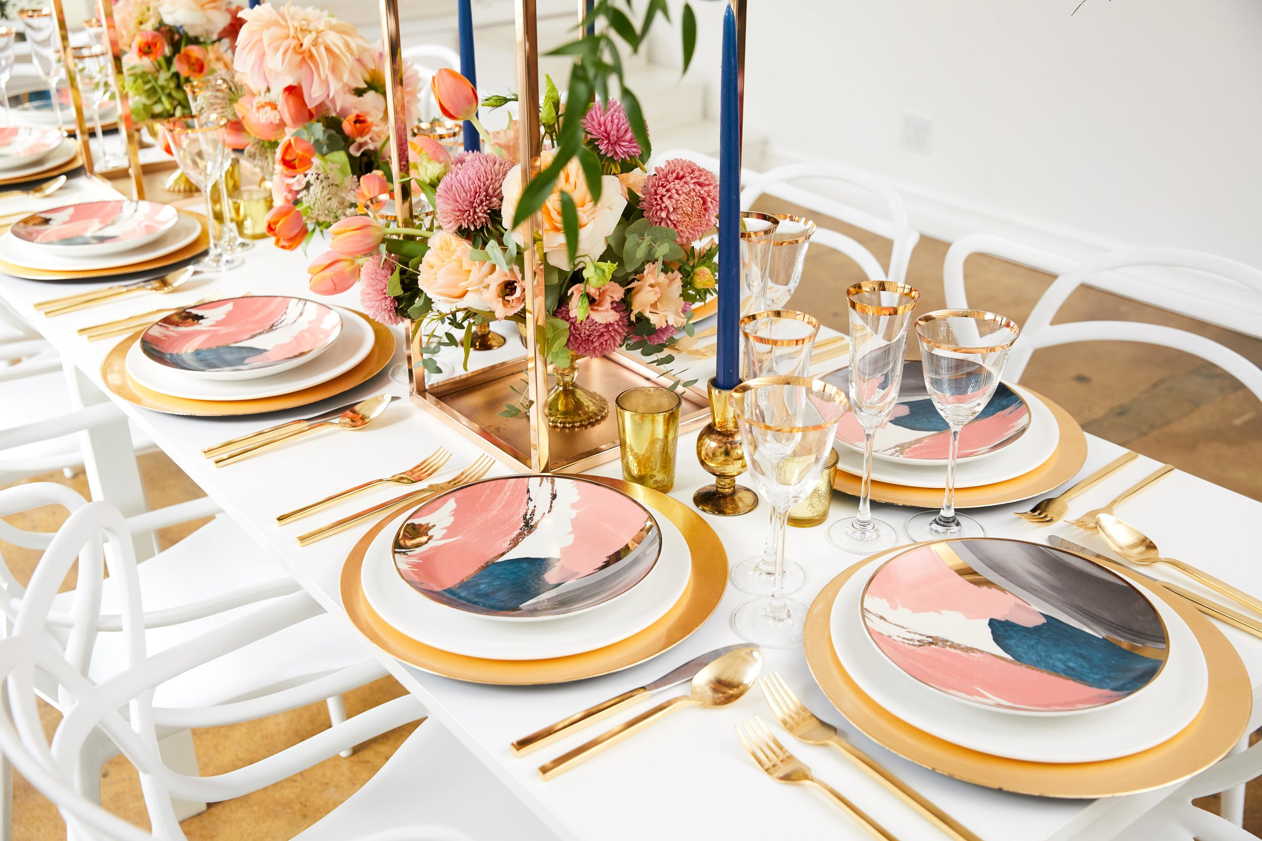 Bold Colorful Accent Plates- B Floral