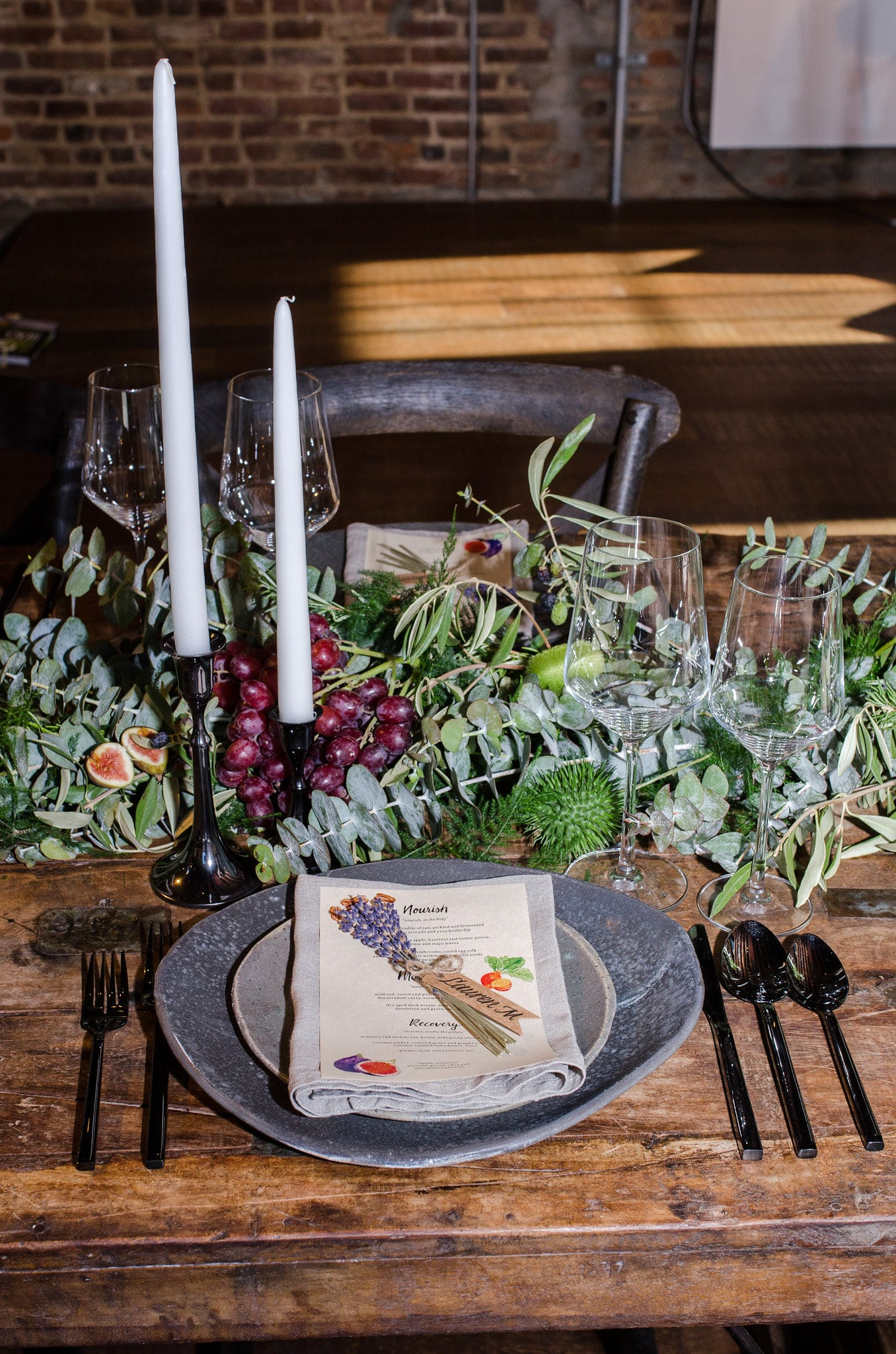 Place Setting With a Sprig of Lavender- B Floral