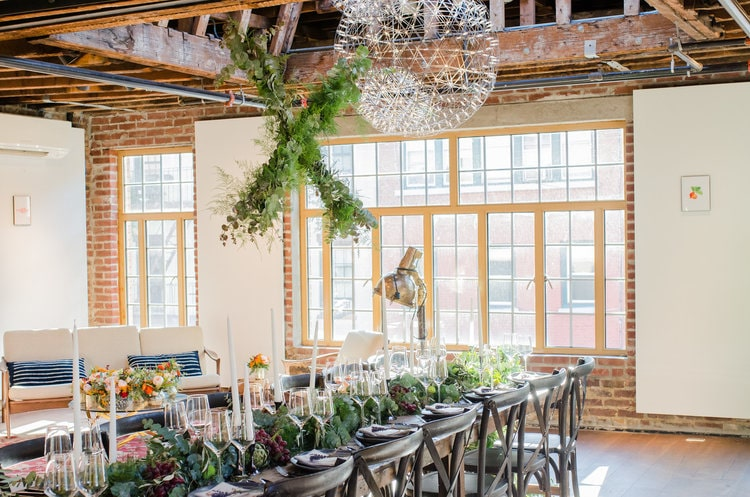 Indoor Hanging Installation and Tablescape - B Floral
