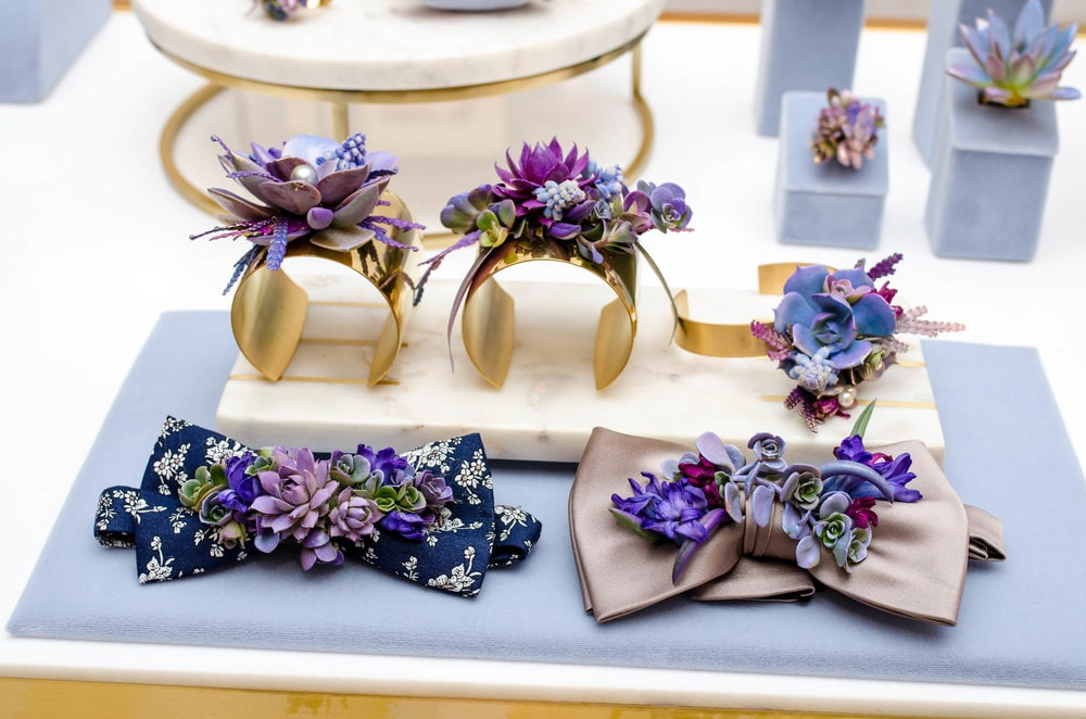 Flower accessories - flower cuff, flower bowtie - B Floral Style