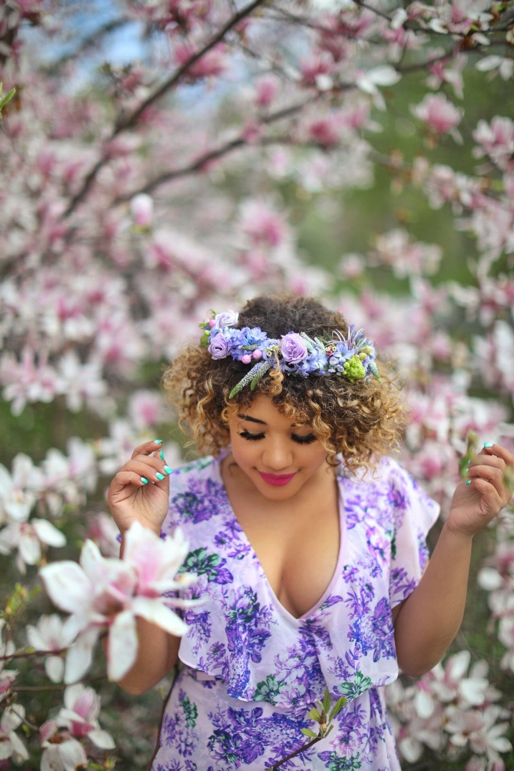 Color Me Courtney: Purple Flower Crown - B Floral Style