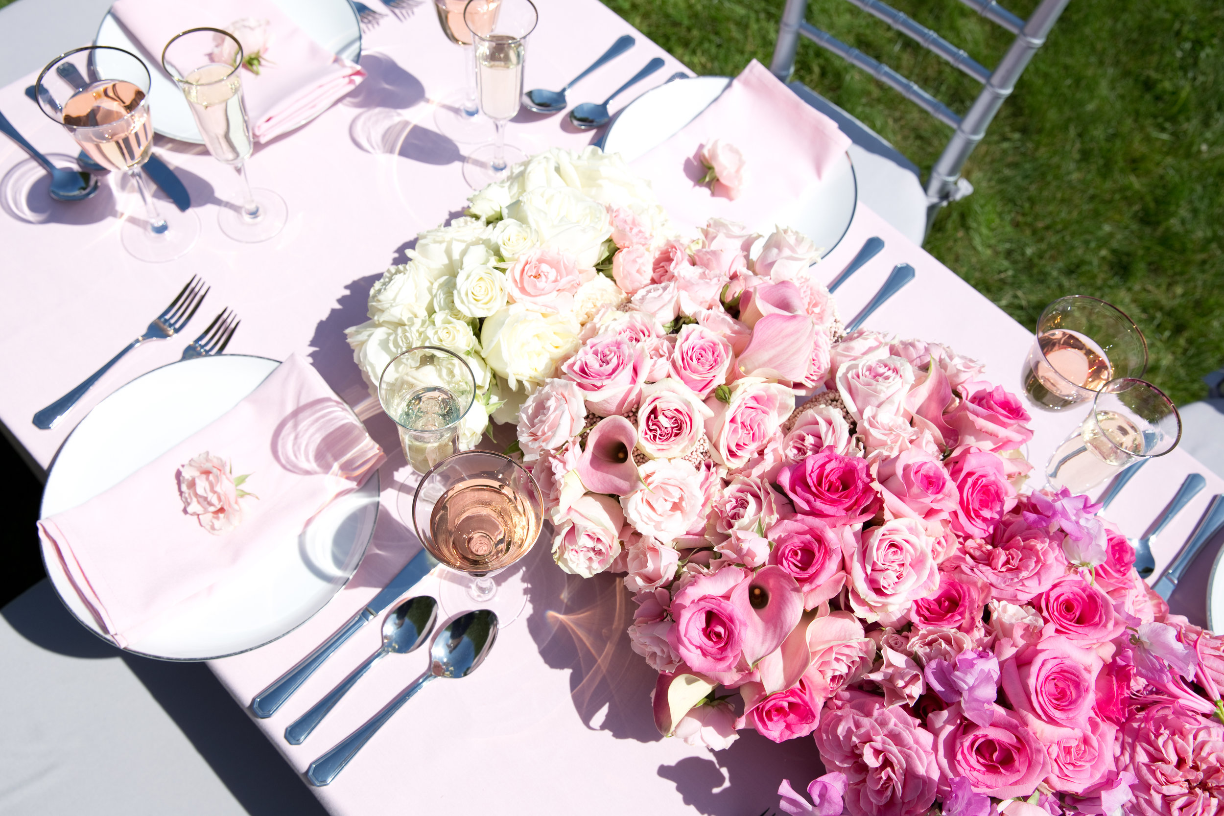 Pink Ombré Floral Table Runner