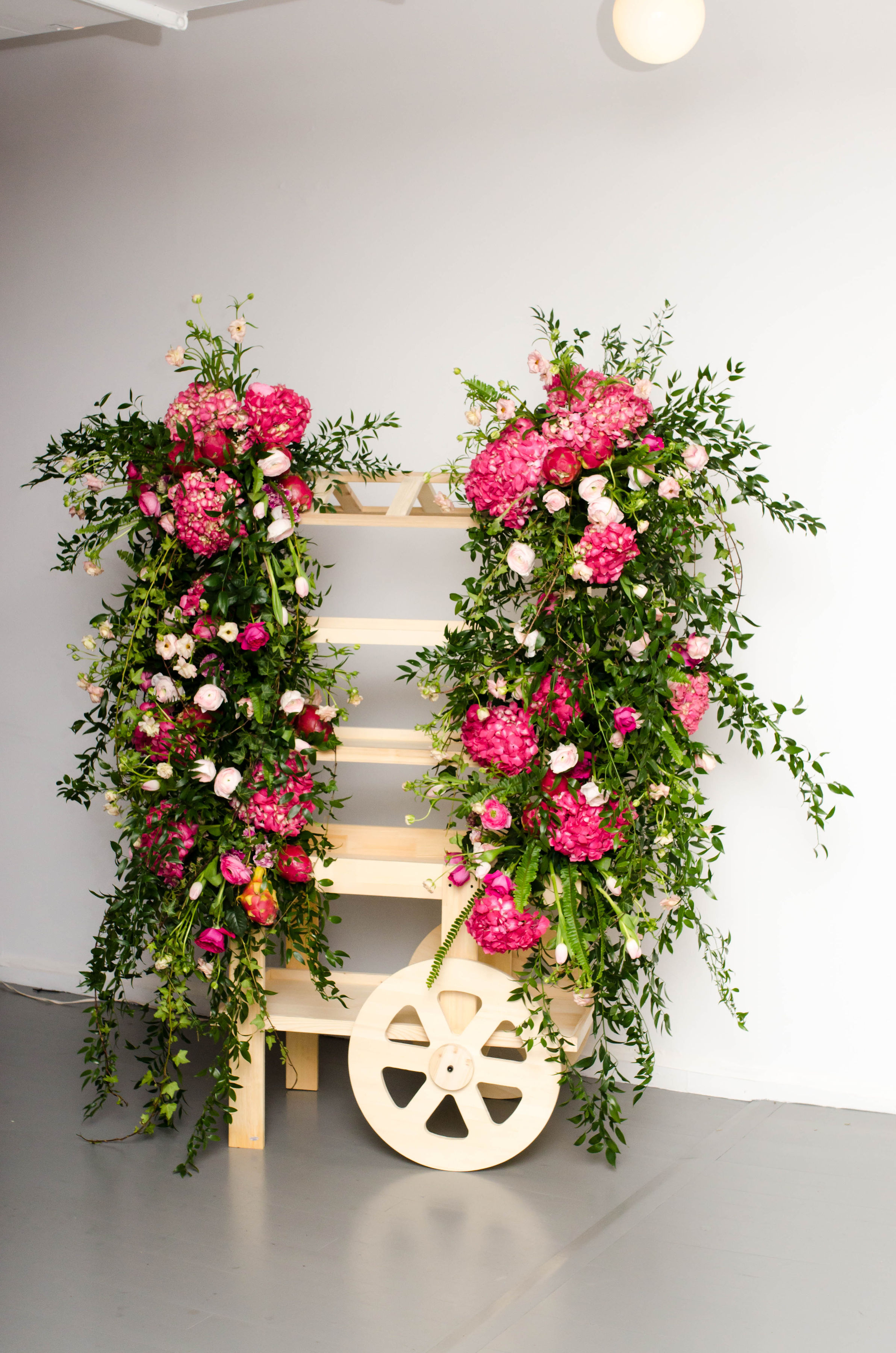 Flower covered bar cart