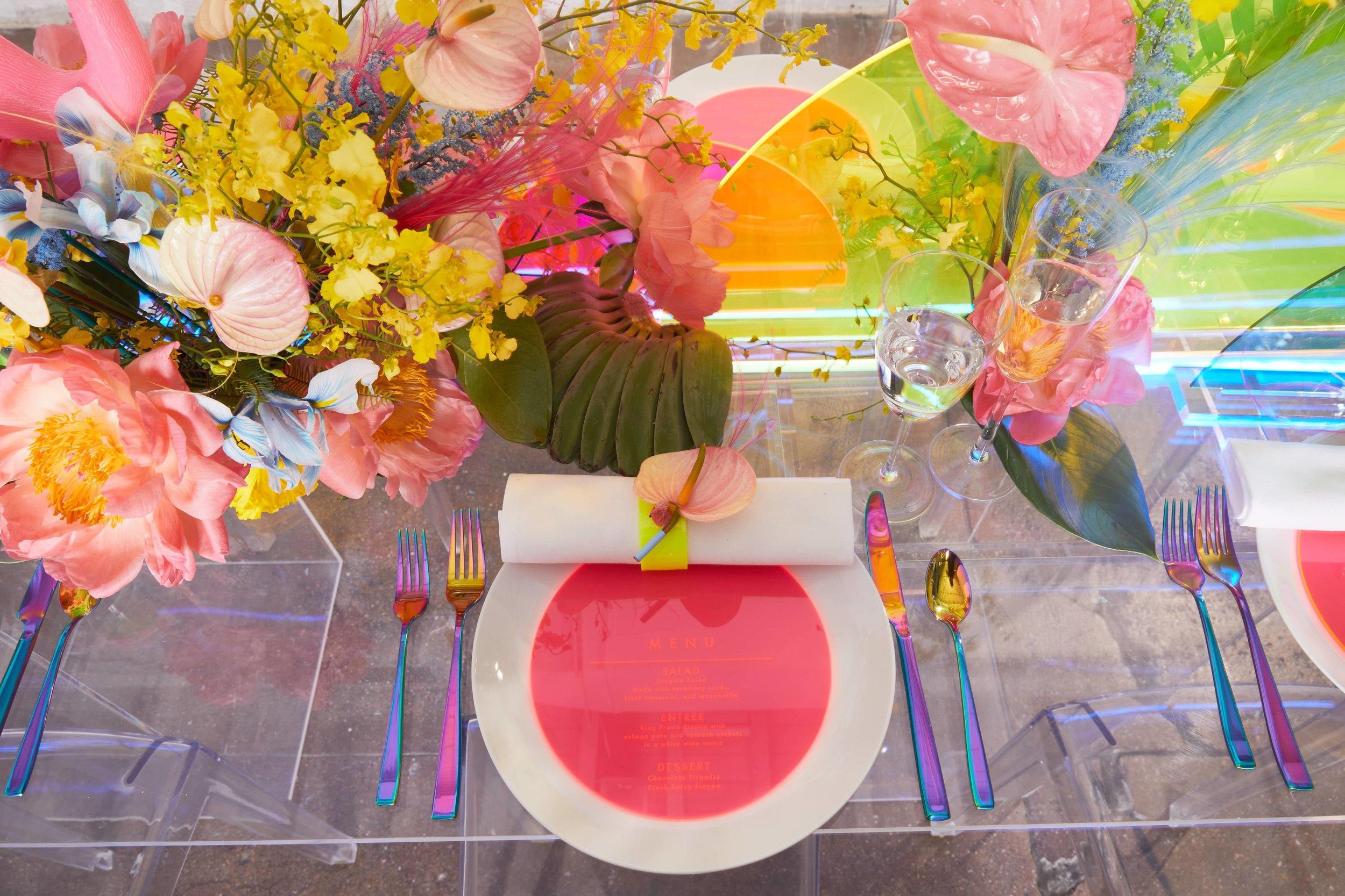 Tropical Neon Tablescape Table Setting