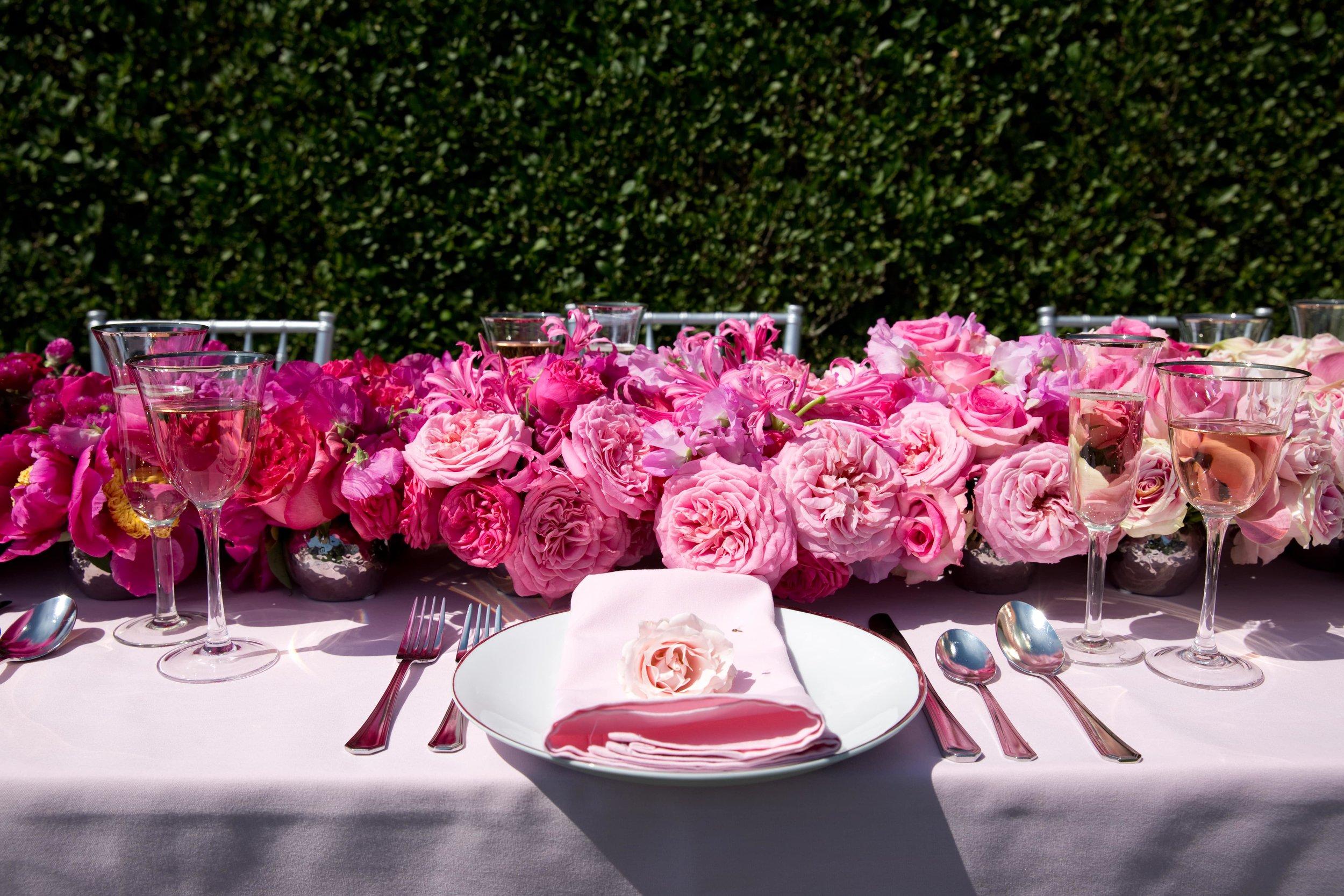 Pink Monochromatic B Floral Tablescape