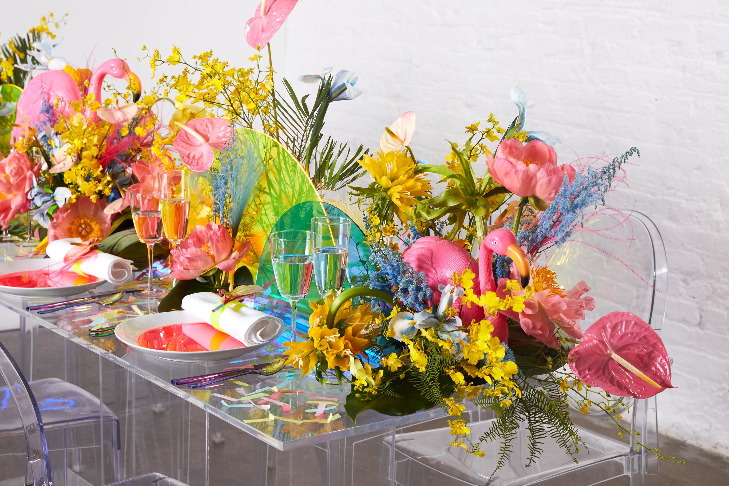 Neon Tropical Tablescape