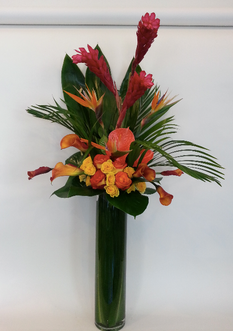 ginger, calla lily, bird of paradise, palm, rose, anthurium, ti leaves.png