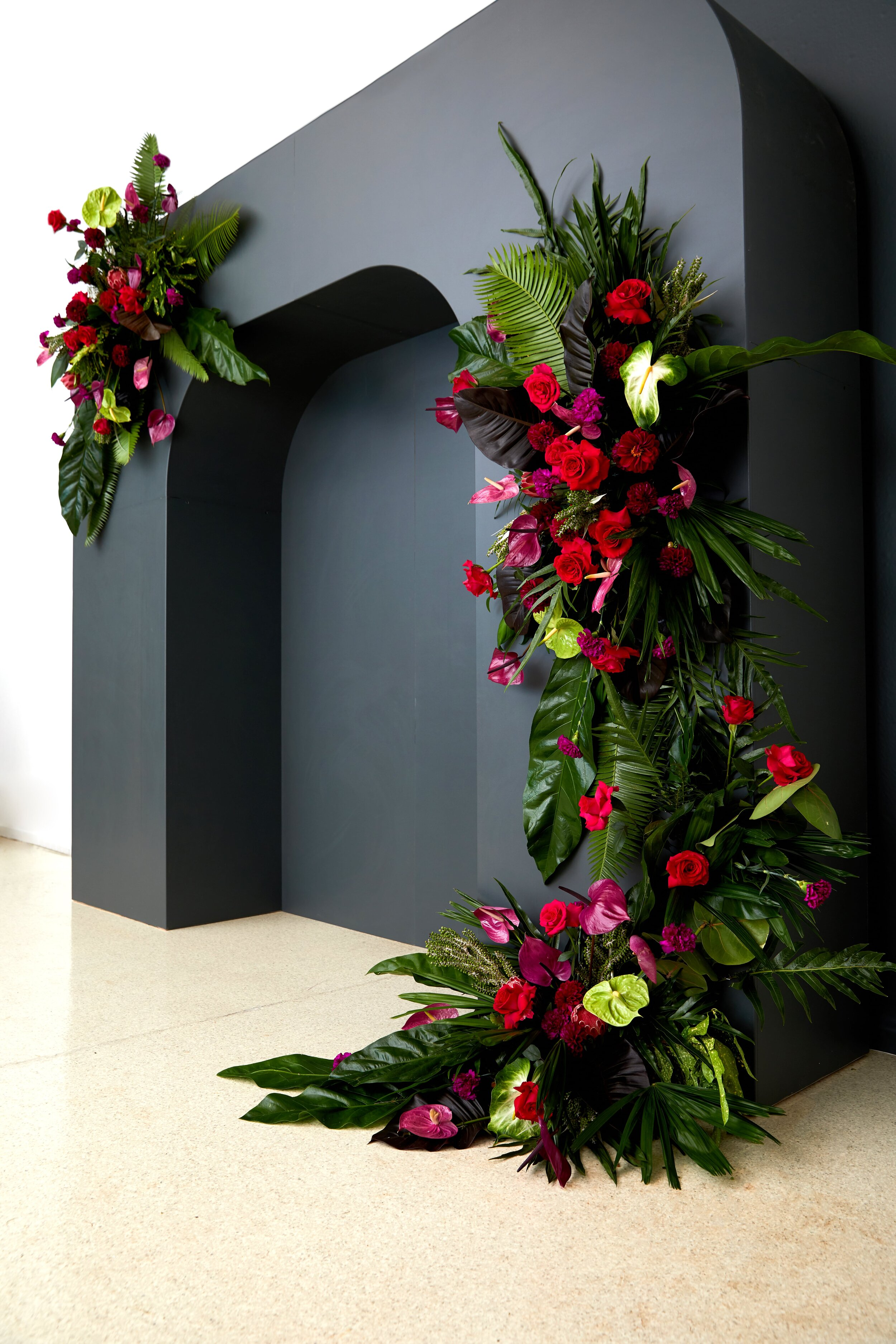 Gray Floral Arch