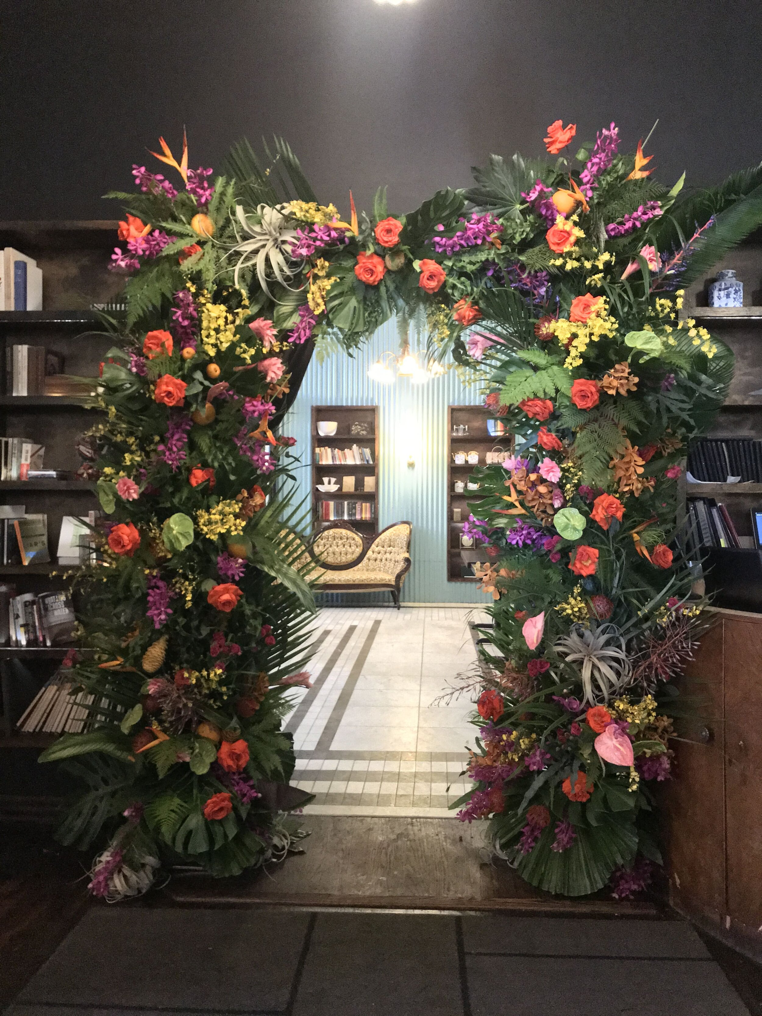 Loose Tropical Flower Arch