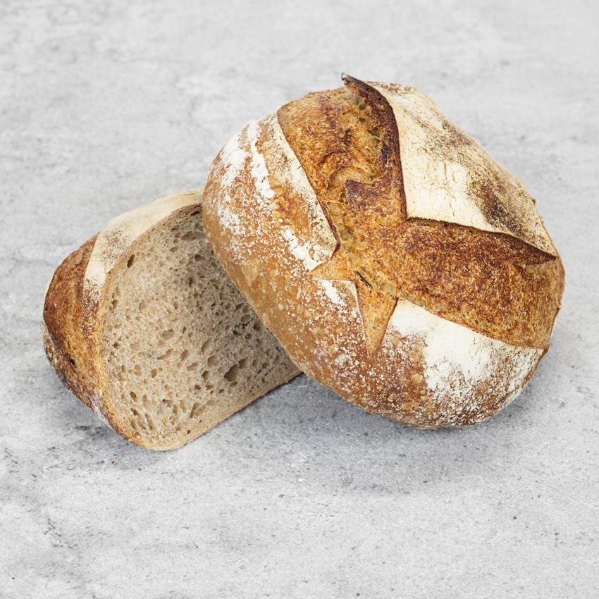 HAMBLETON SOURDOUGH  A mixture of wheat and rye flours, long fermented over a 48 hour period. It has a mild sour flavour which makes great toast and is delicious with pate, hams and cheese. Like a good wine, the flavour improves as it ages!