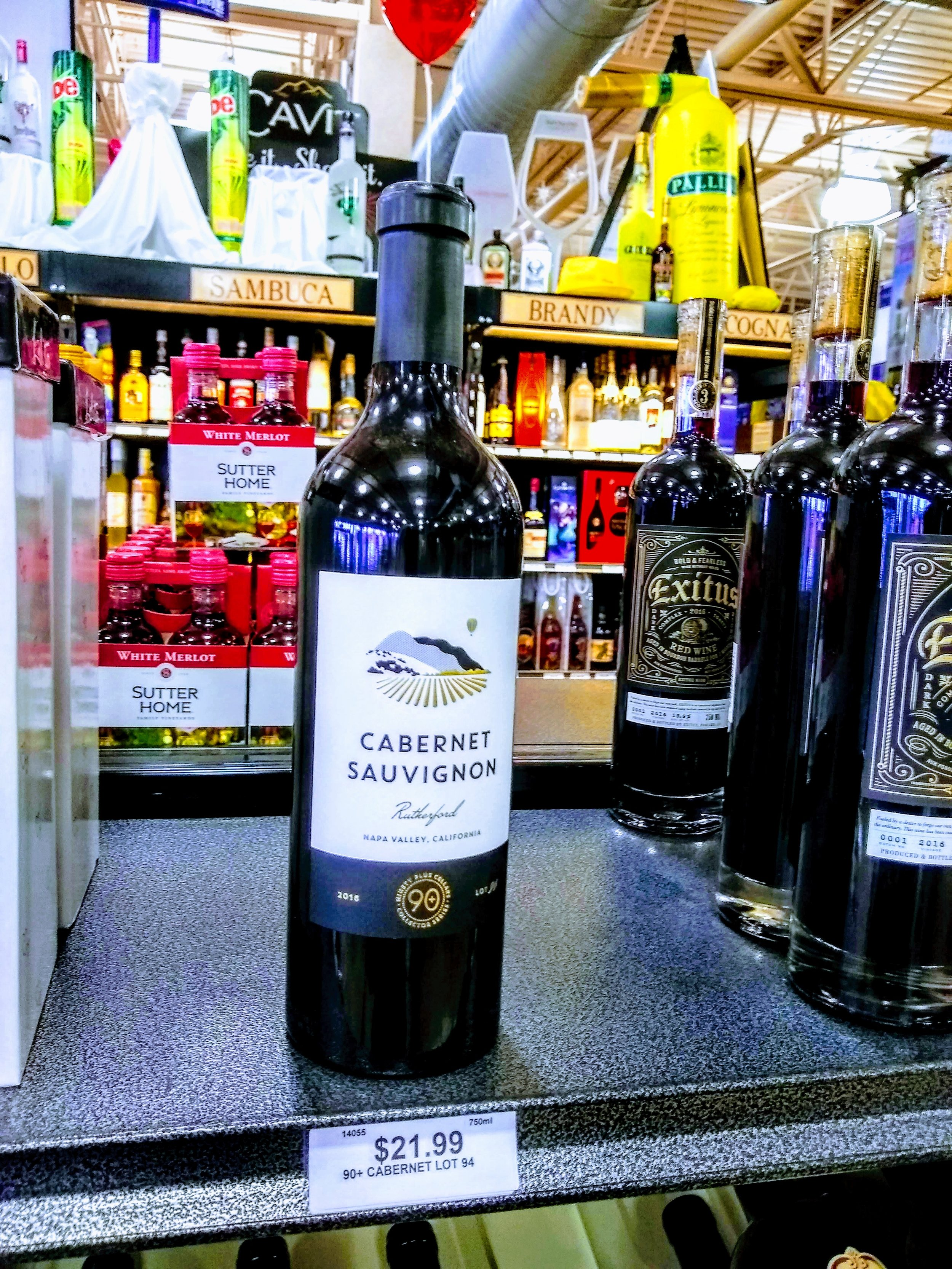 90+ Ninety Plus Cellars Cabernet Sauvignon 2016, lot 94 - The last bottle on the shelf this day at Wine Academy, Lakewood NJ. Recommendation by The Ghost of Steve.