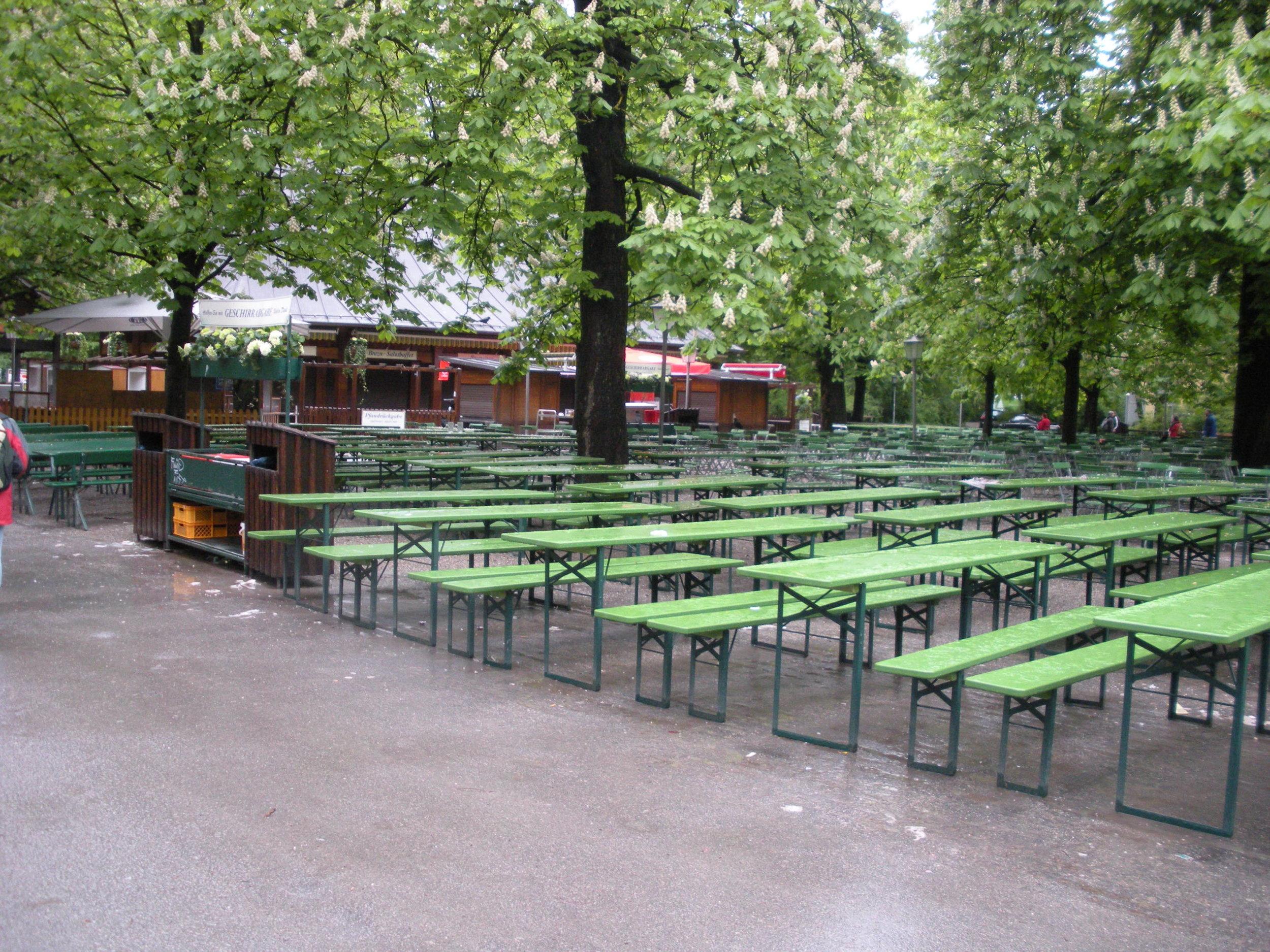 An outdoor biergarten in Munich in the springtime.