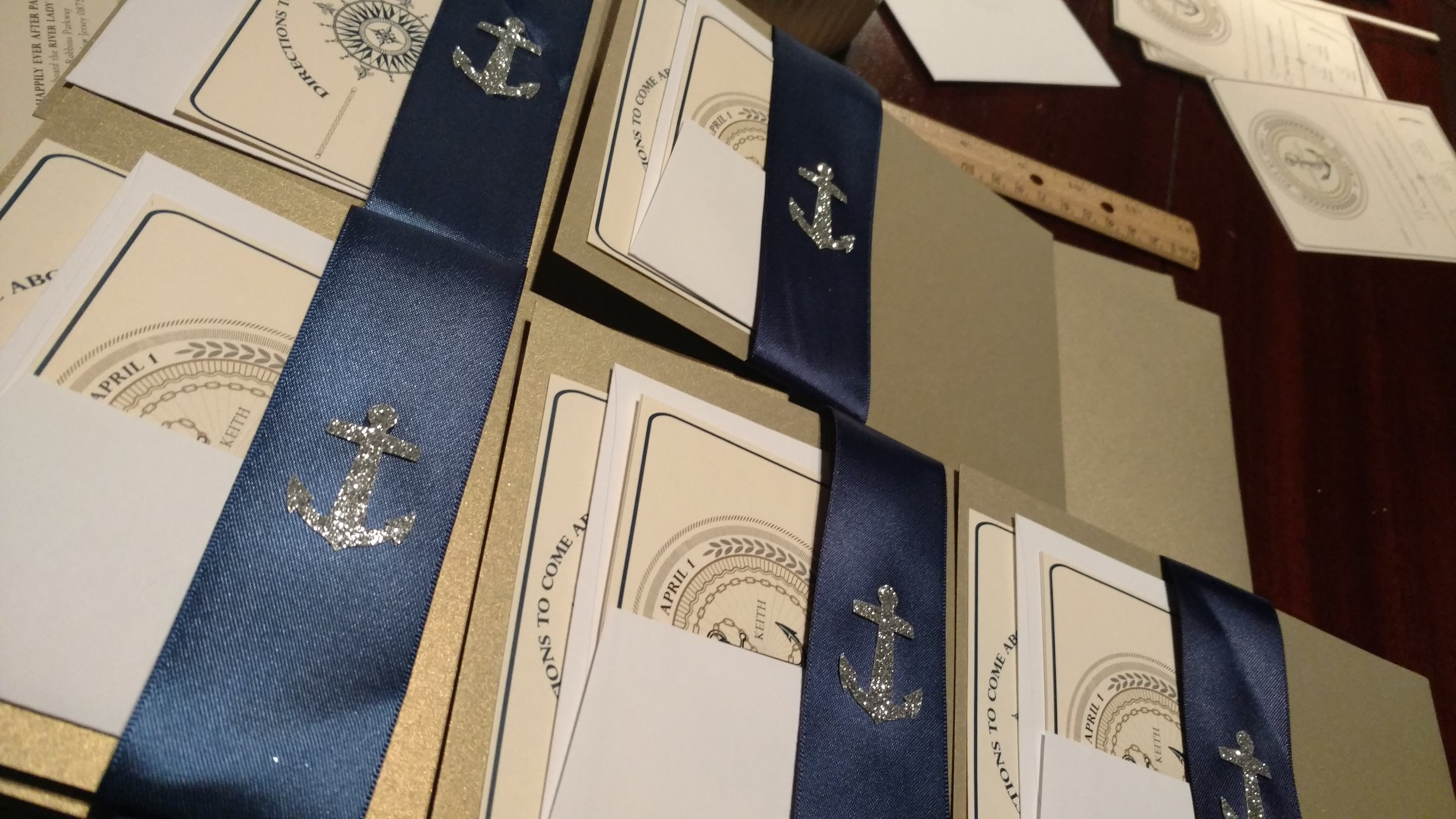 Handmade invitations don't have to be expensive; You can DIY this or find someone who won't charge you crazy prices. They're out there!  (Pic: Custom designed nautical invitations by  Event Everything, Brick NJ. (908) 692-6895.)
