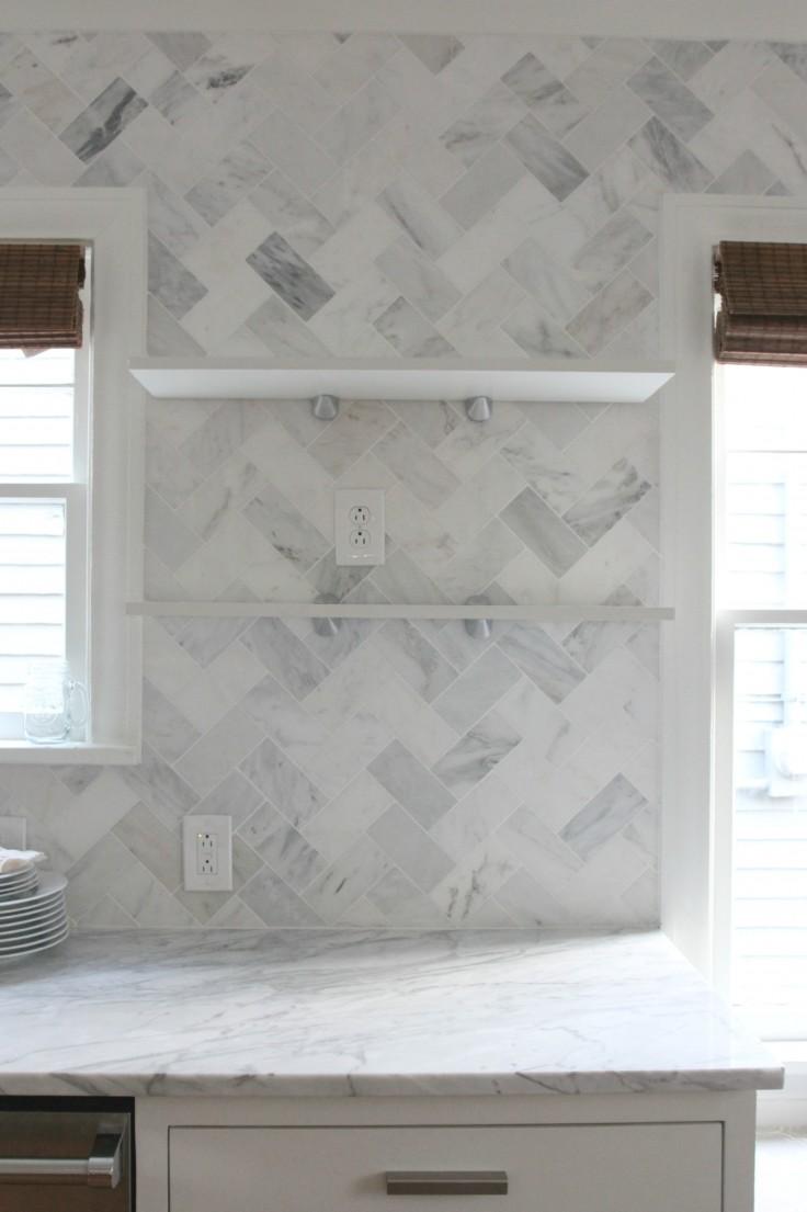 Kitchen Open Shelves Over Tiles
