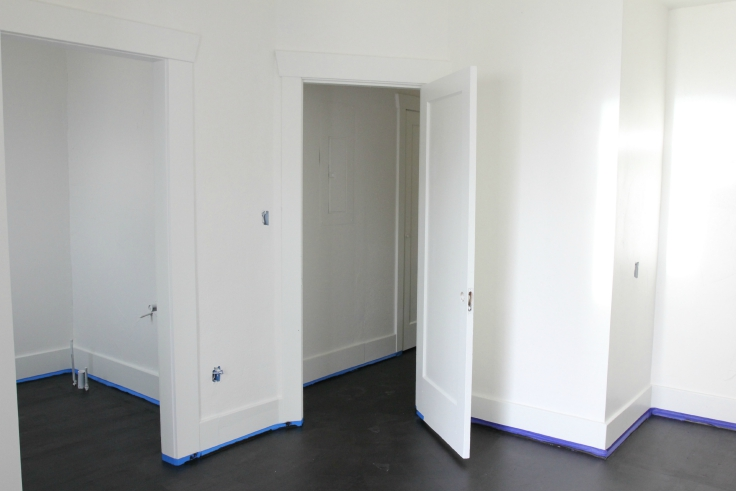 The Grit and Polish - Floors in Master after 1 coat black paint