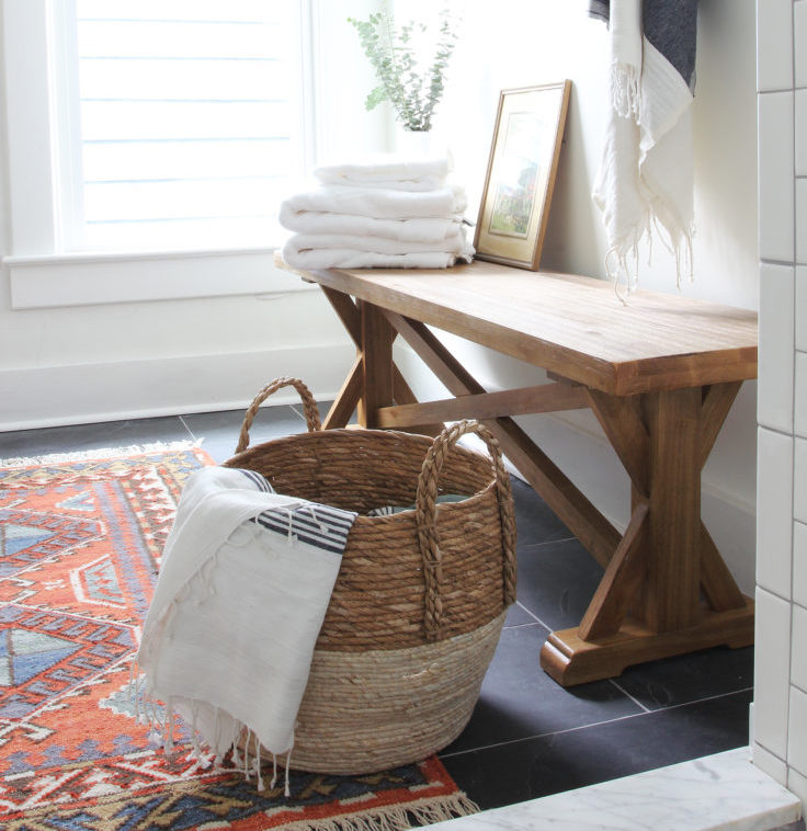 The Grit and Polish - Porch Master Bathroom Bench from shower