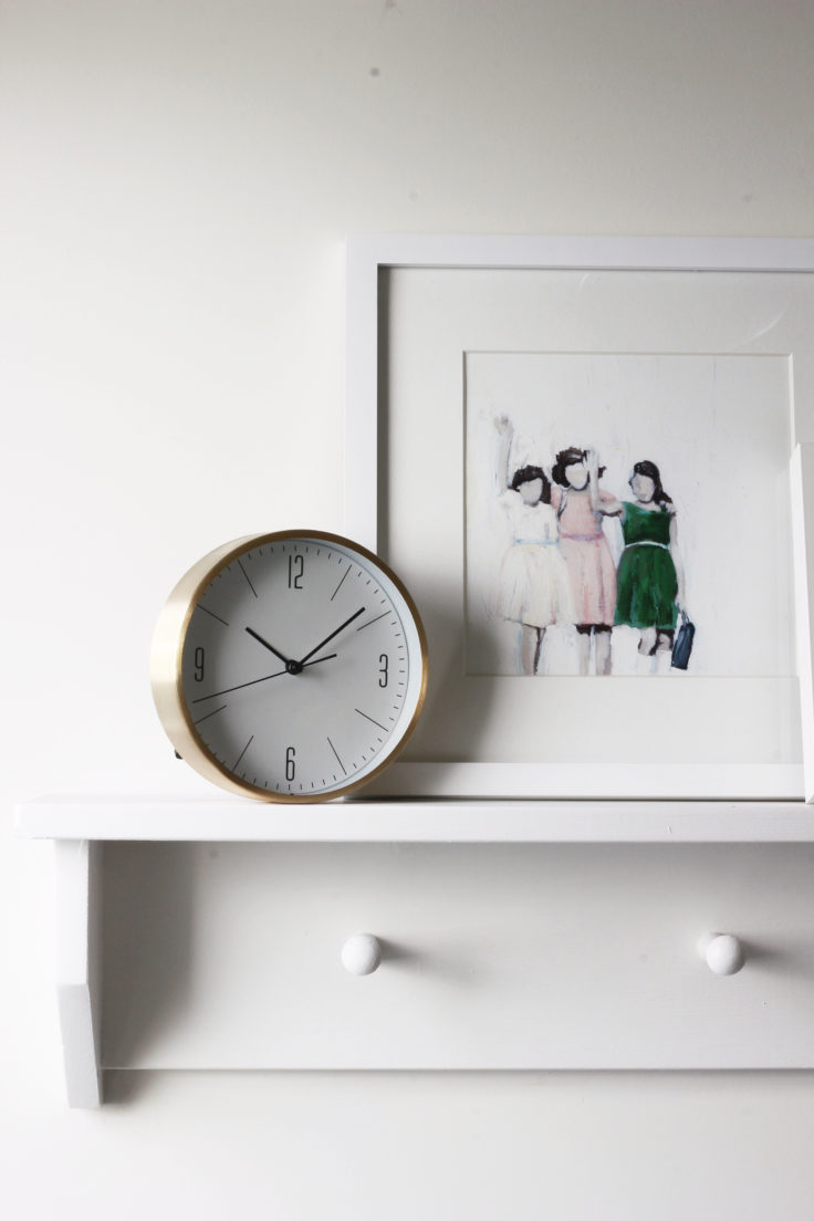 The Grit and Polish - Porch Master Bathroom Picture Ledge Clock