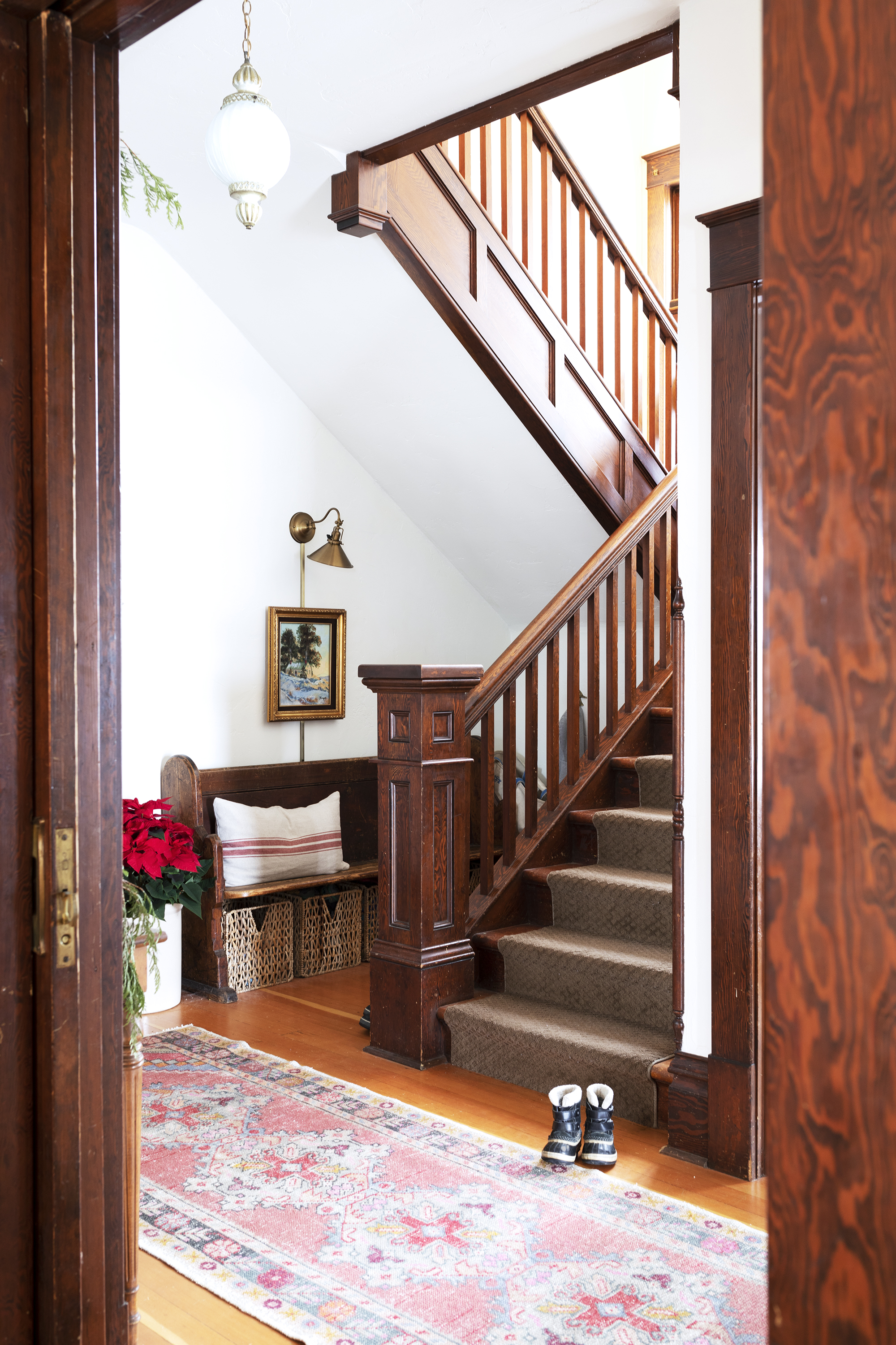 The Grit and Polish - Farmhouse Entry Staircase Christmas 2000.jpg